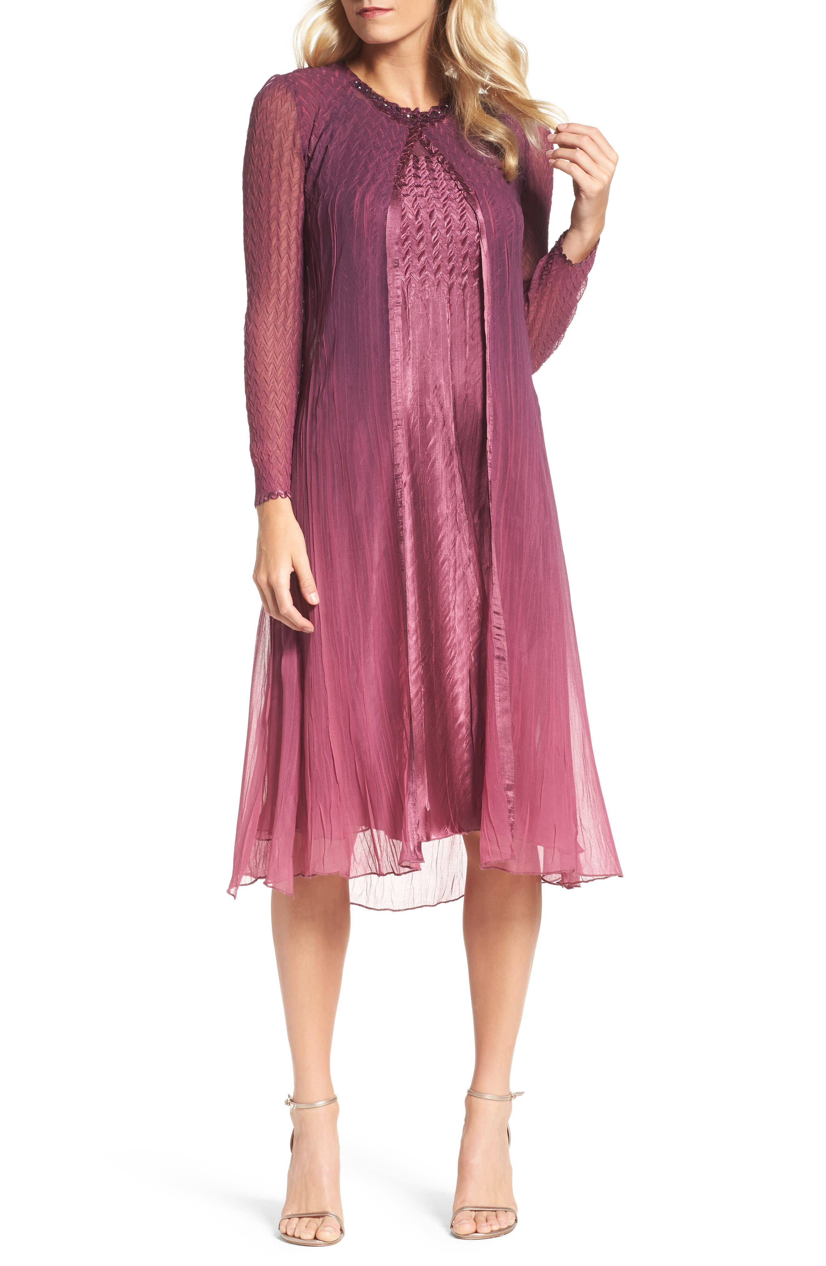 Charmeuse & Chiffon A-Line Dress with Jacket,                         Main,                         color, Rose Plum Orchid Ombre