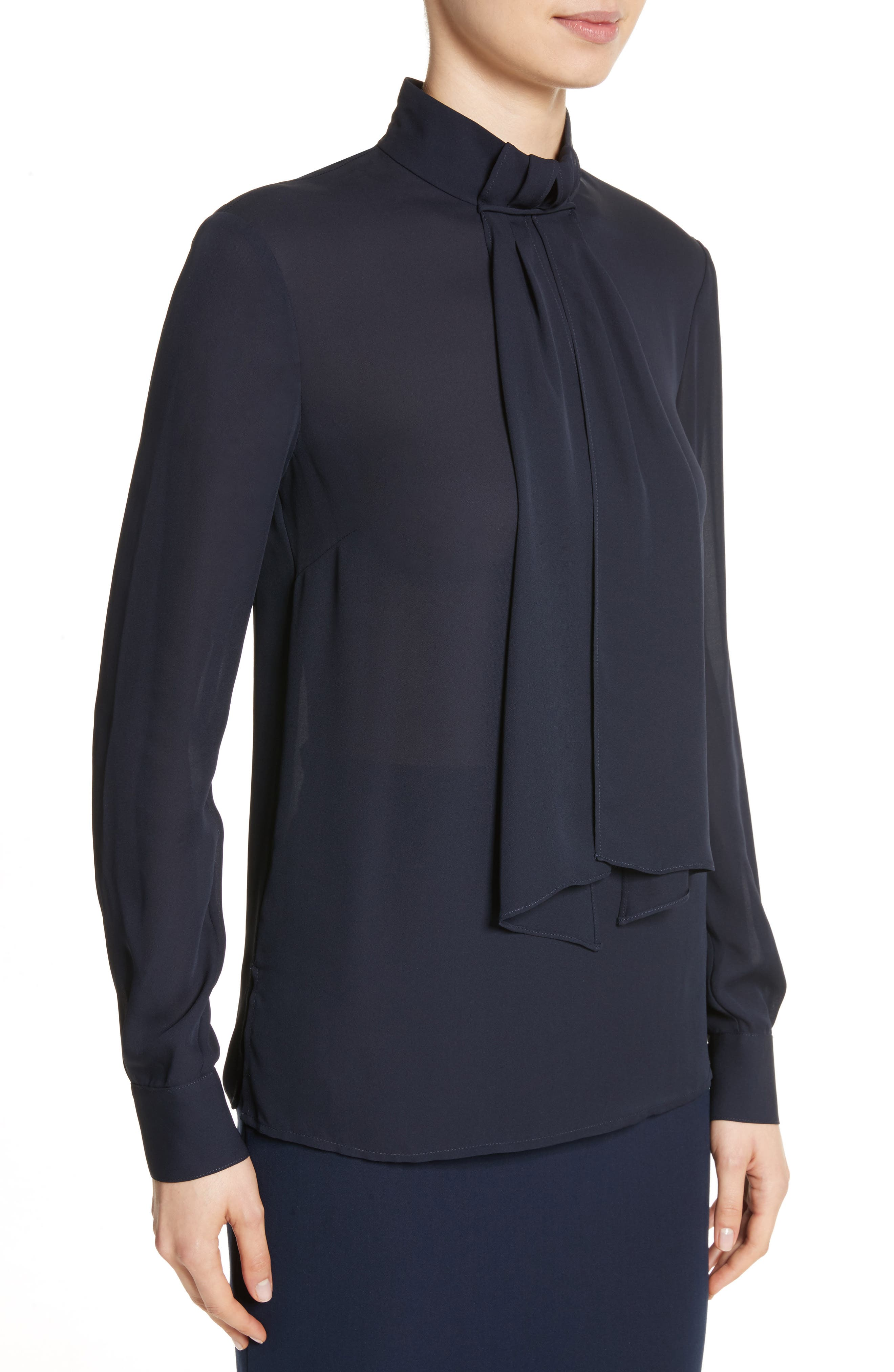 Alternate Image 4  - St. John Collection Scarf Neck Tie Blouson Sleeve Blouse
