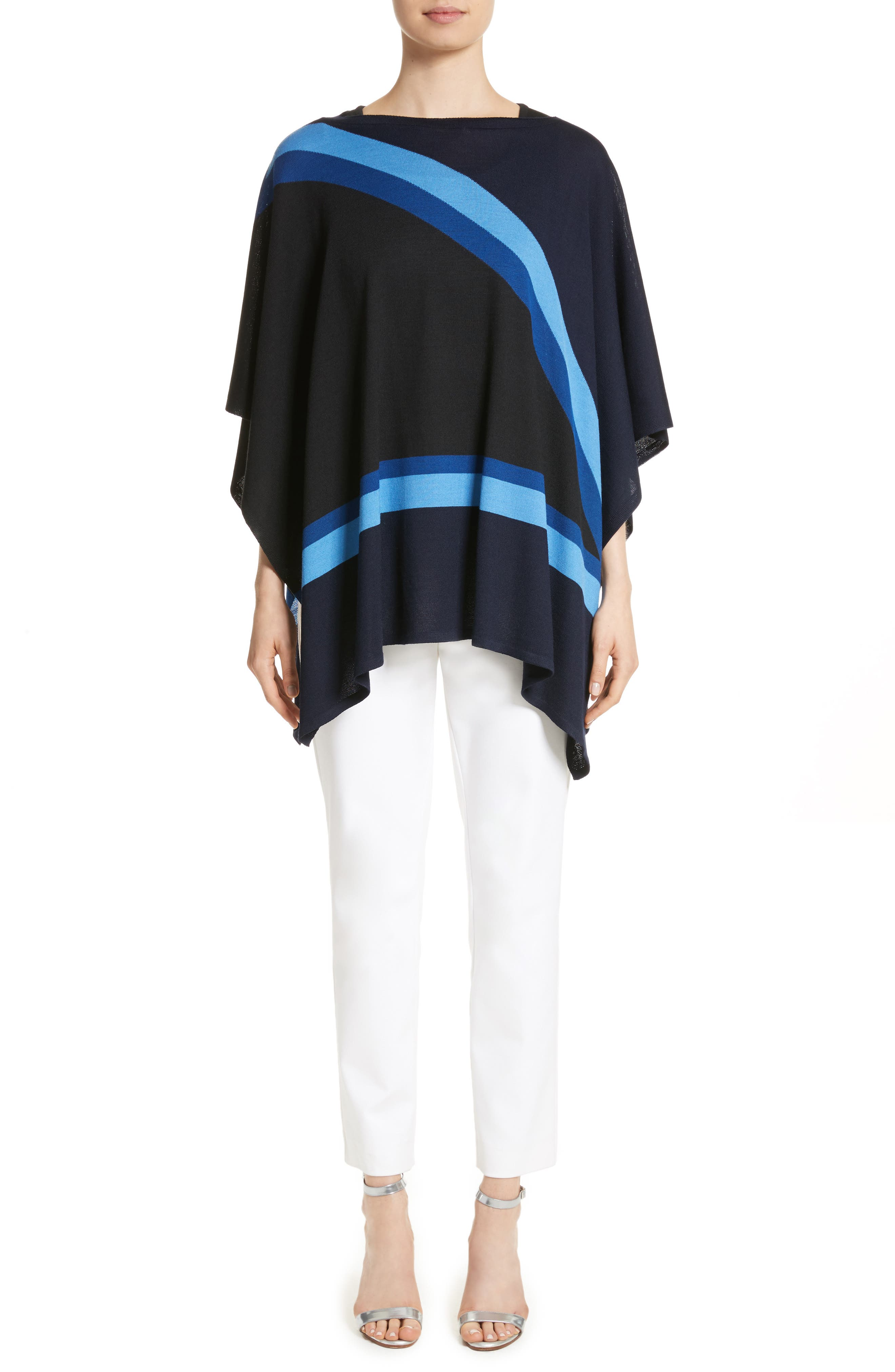 Intarsia Knit Jersey Poncho,                             Alternate thumbnail 9, color,                             Navy Multi