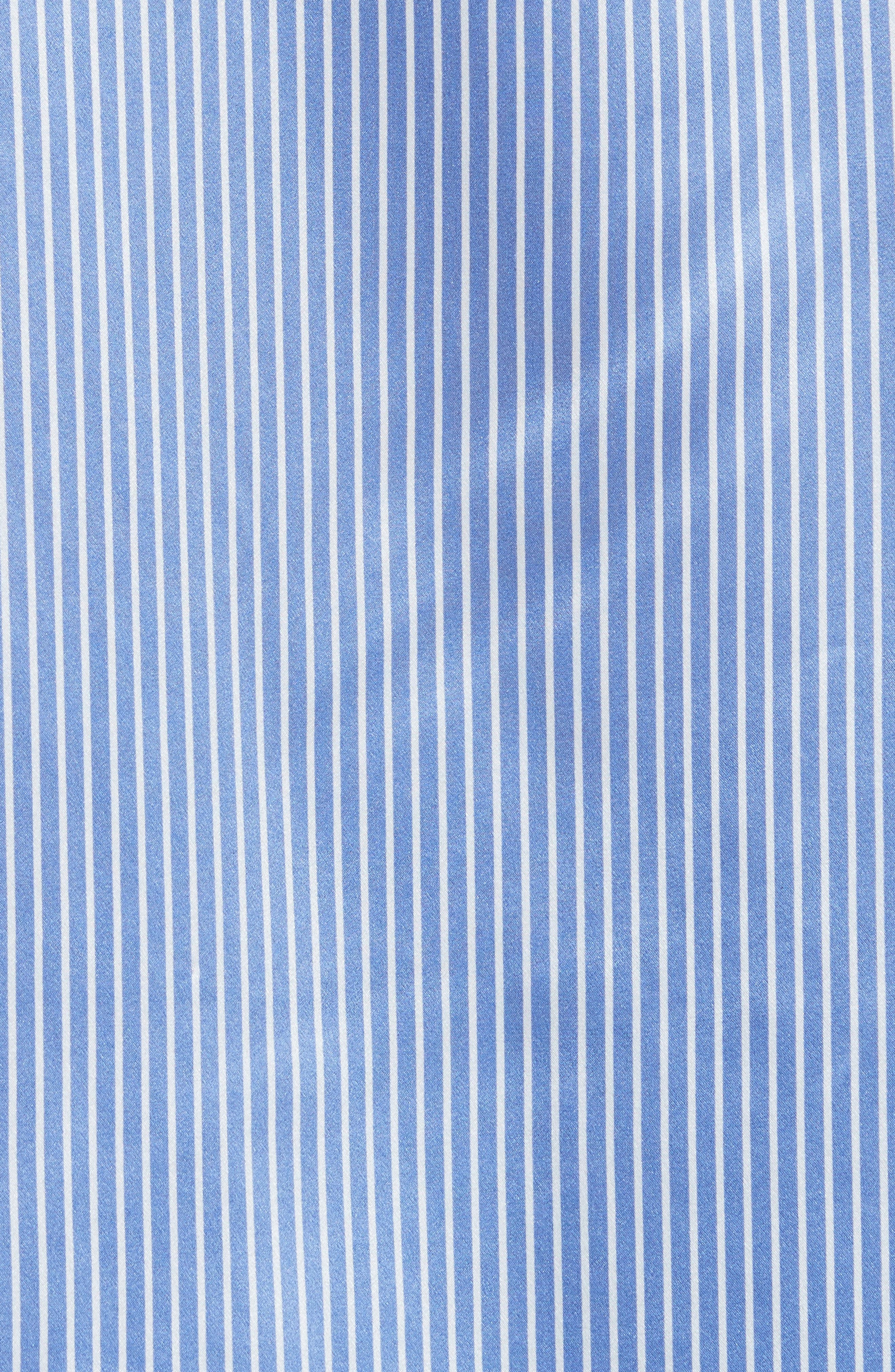 Silk Satin Blouse,                             Alternate thumbnail 5, color,                             Washed Whale With White Stripe