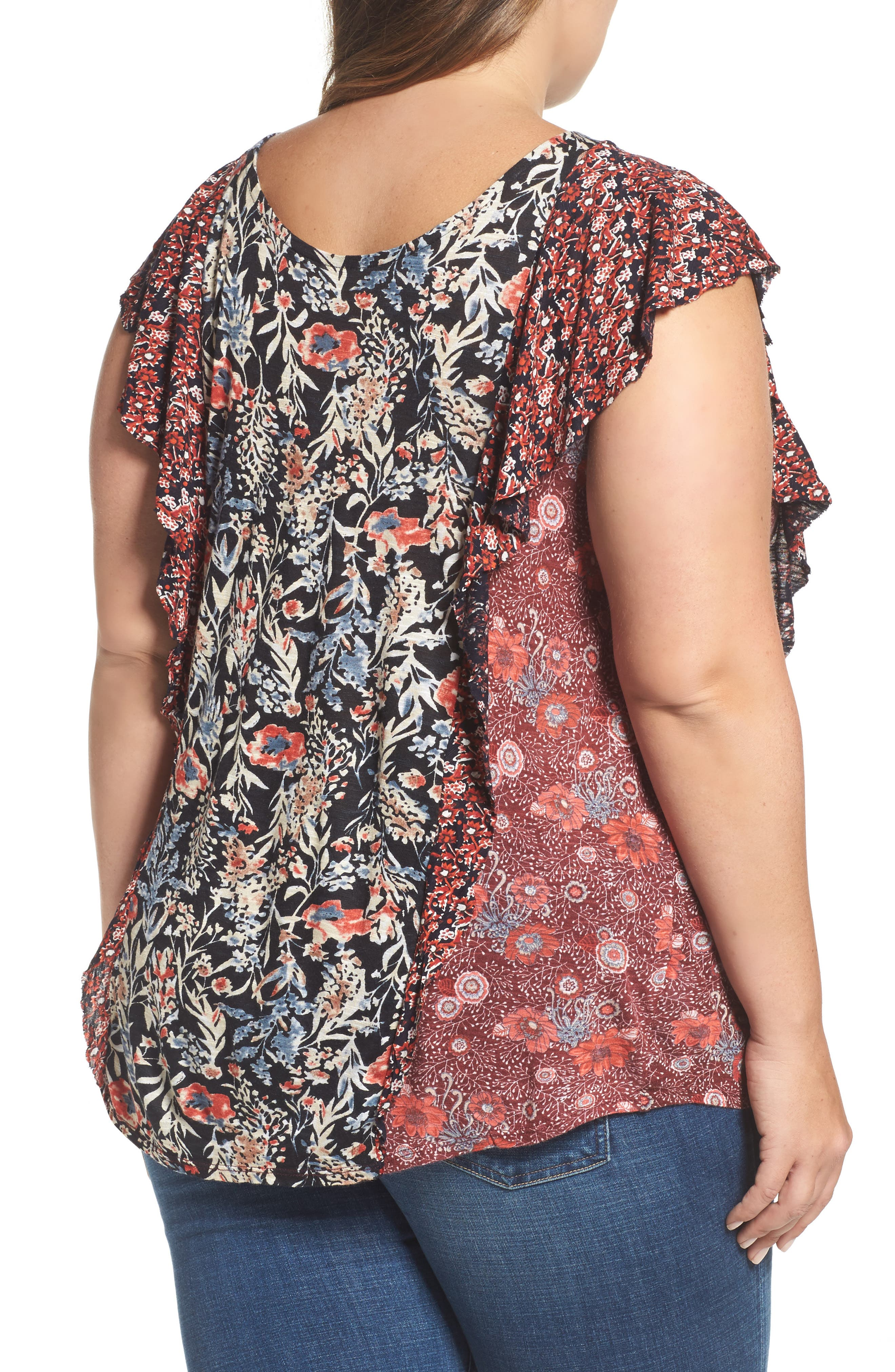 Mixed Print Ruffle Top,                             Alternate thumbnail 2, color,                             Red Multi