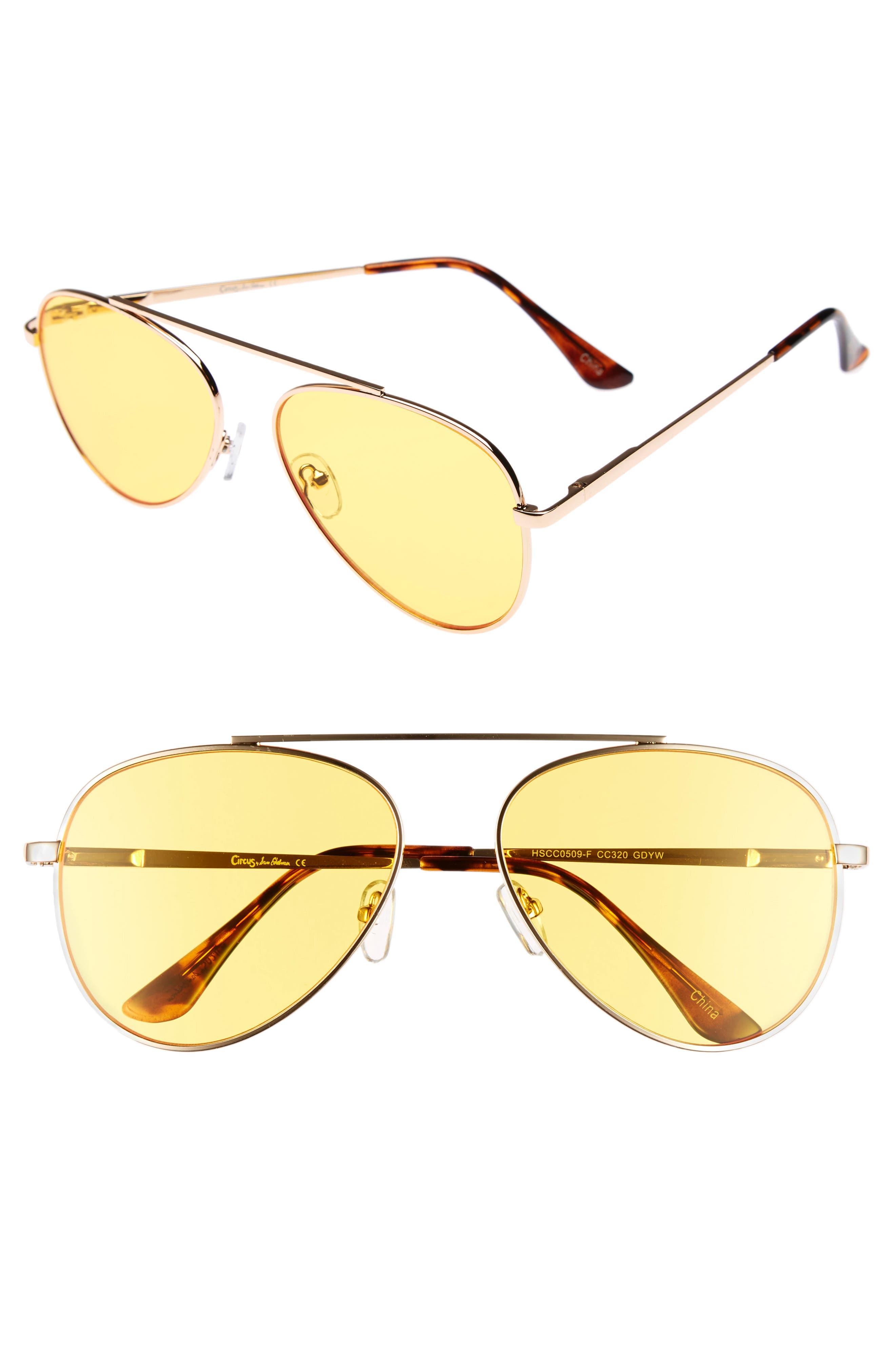 58mm Aviator Sunglasses,                         Main,                         color, Gold/ Yellow