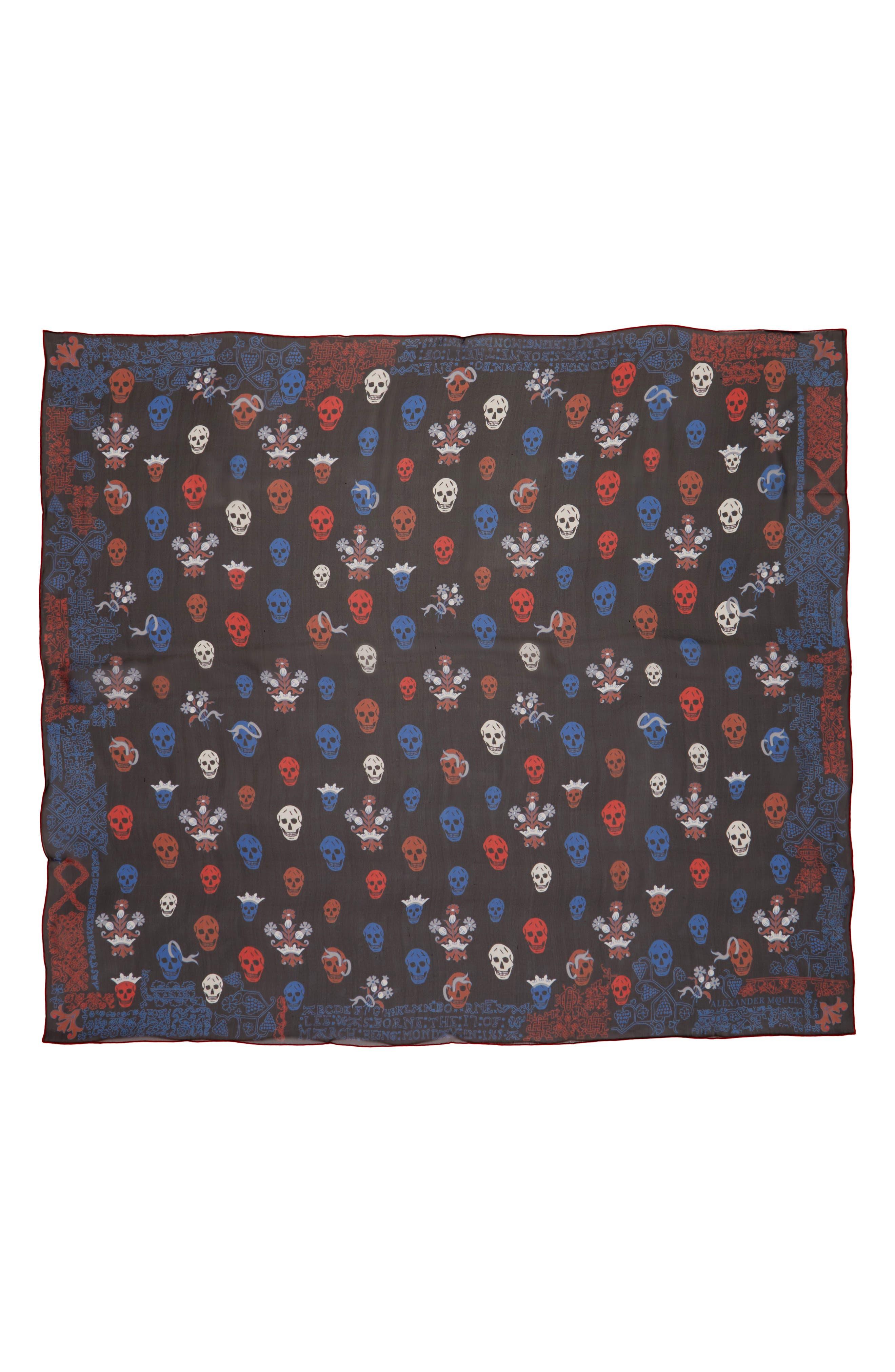 Alexander McQueen Heraldic Multiskull Silk Scarf