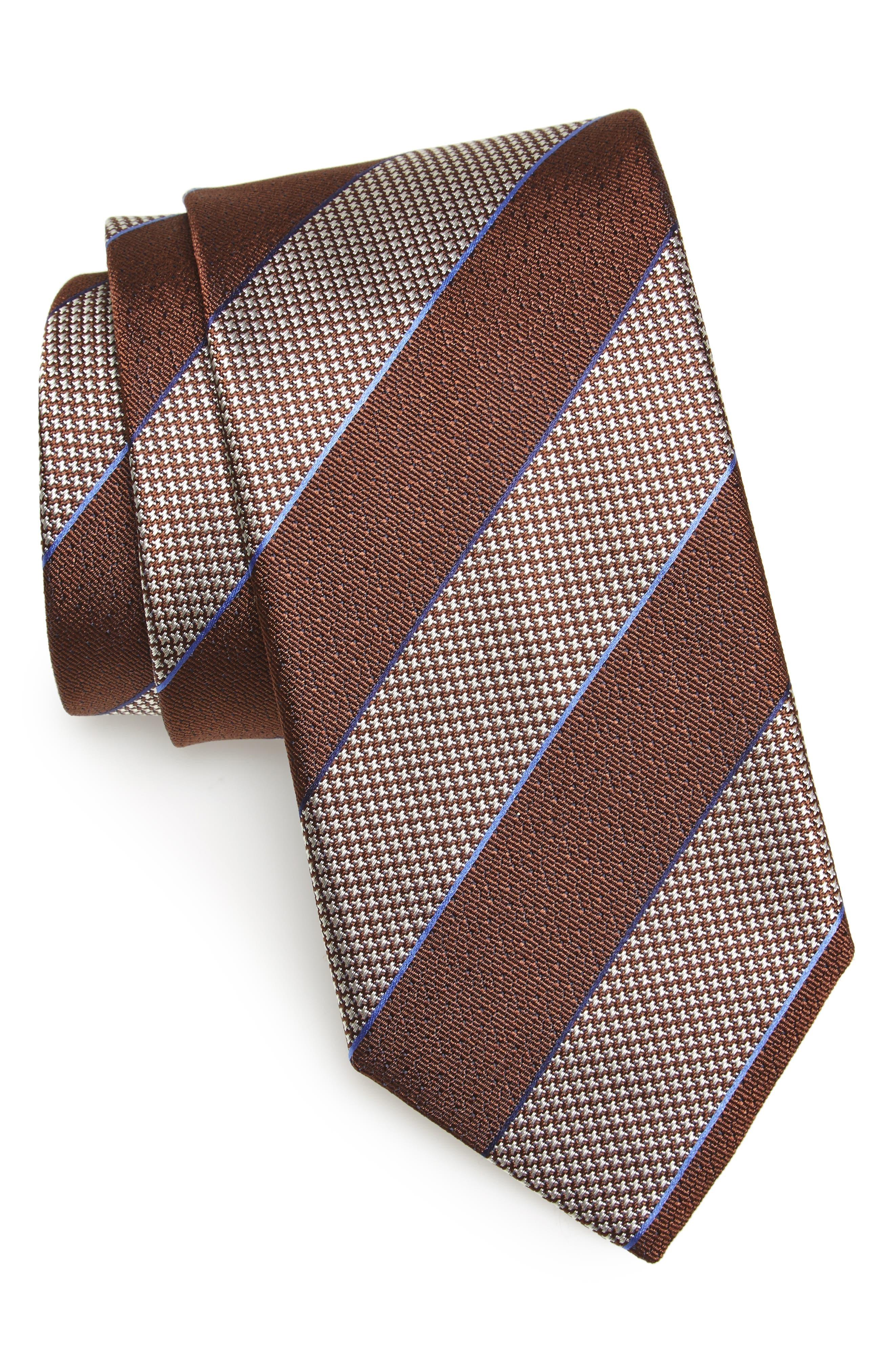 Stripe Silk Tie,                         Main,                         color, Brown