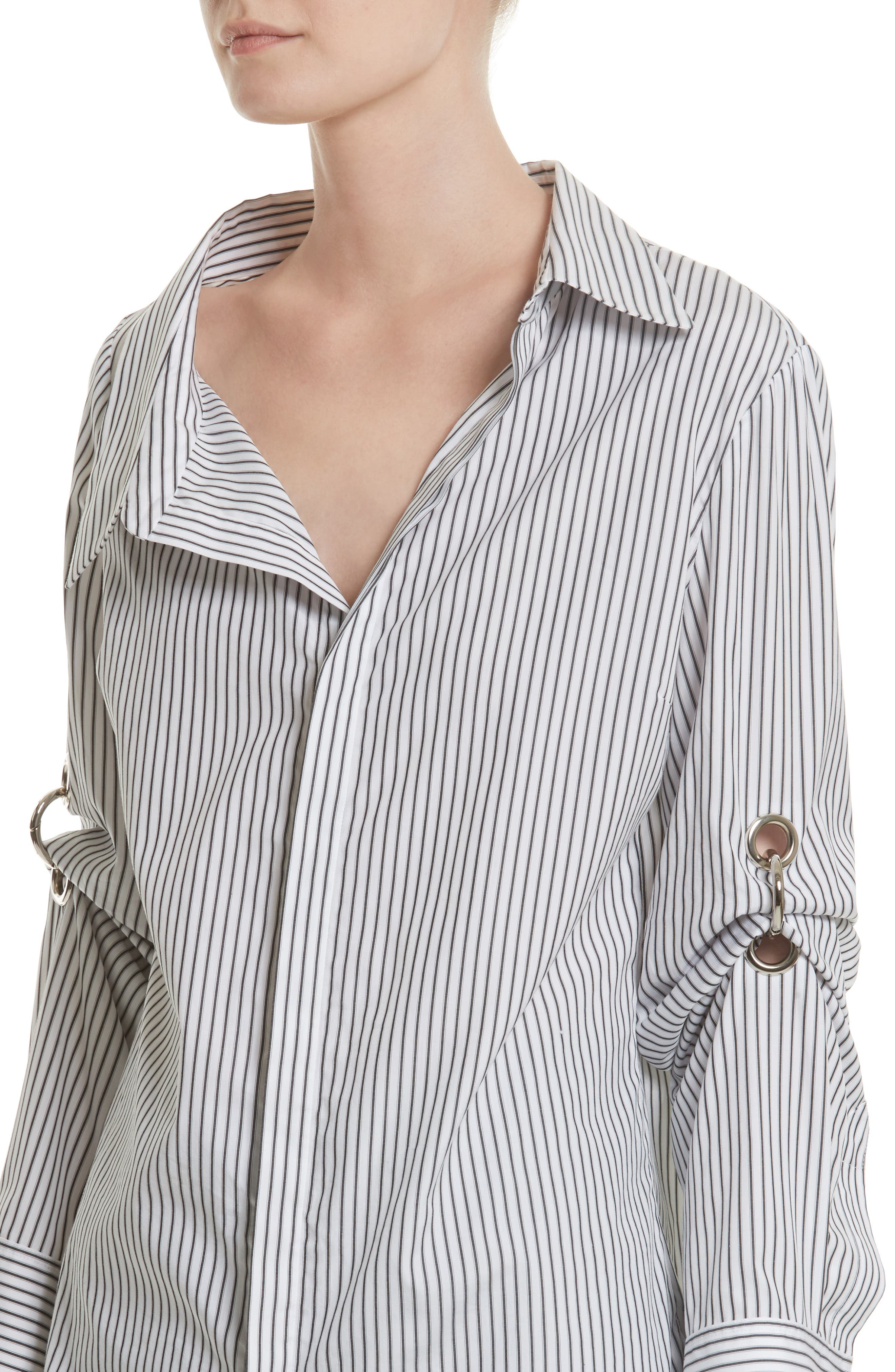 Grommet Scrunch Sleeve Shirt,                             Alternate thumbnail 4, color,                             Blue/ White