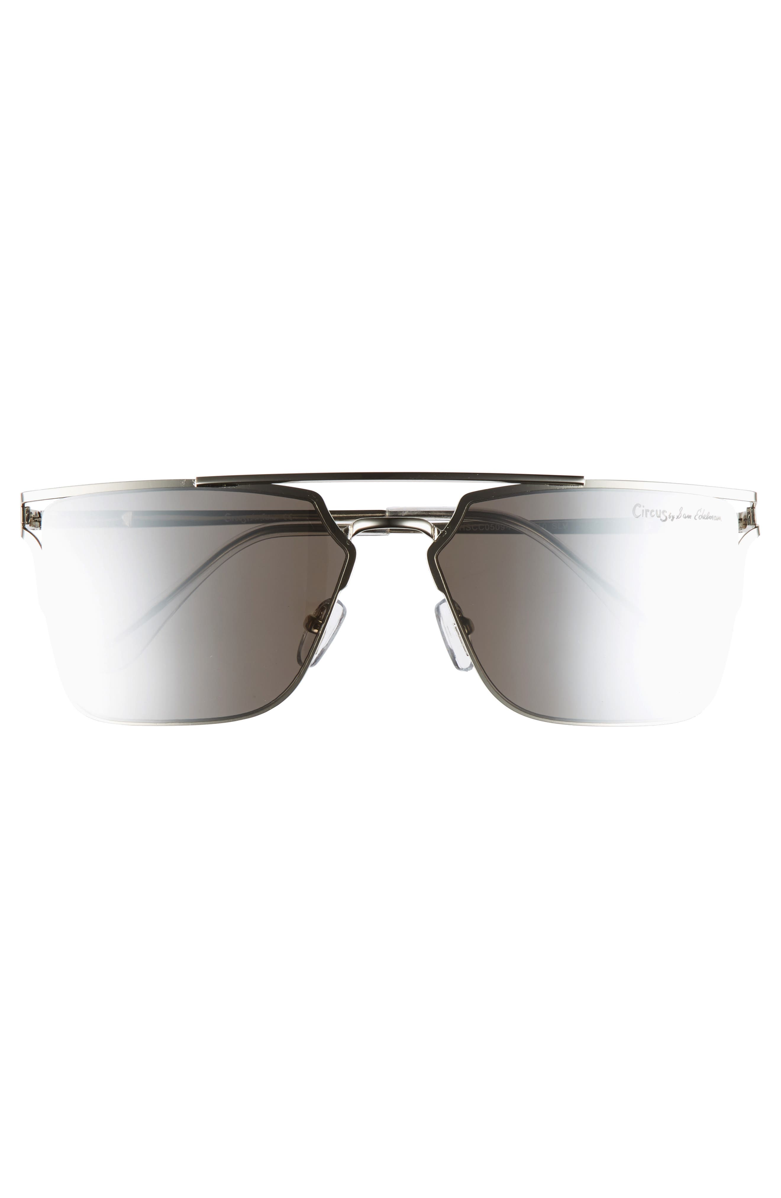 56mm Flat Top Sunglasses,                             Alternate thumbnail 3, color,                             Silver
