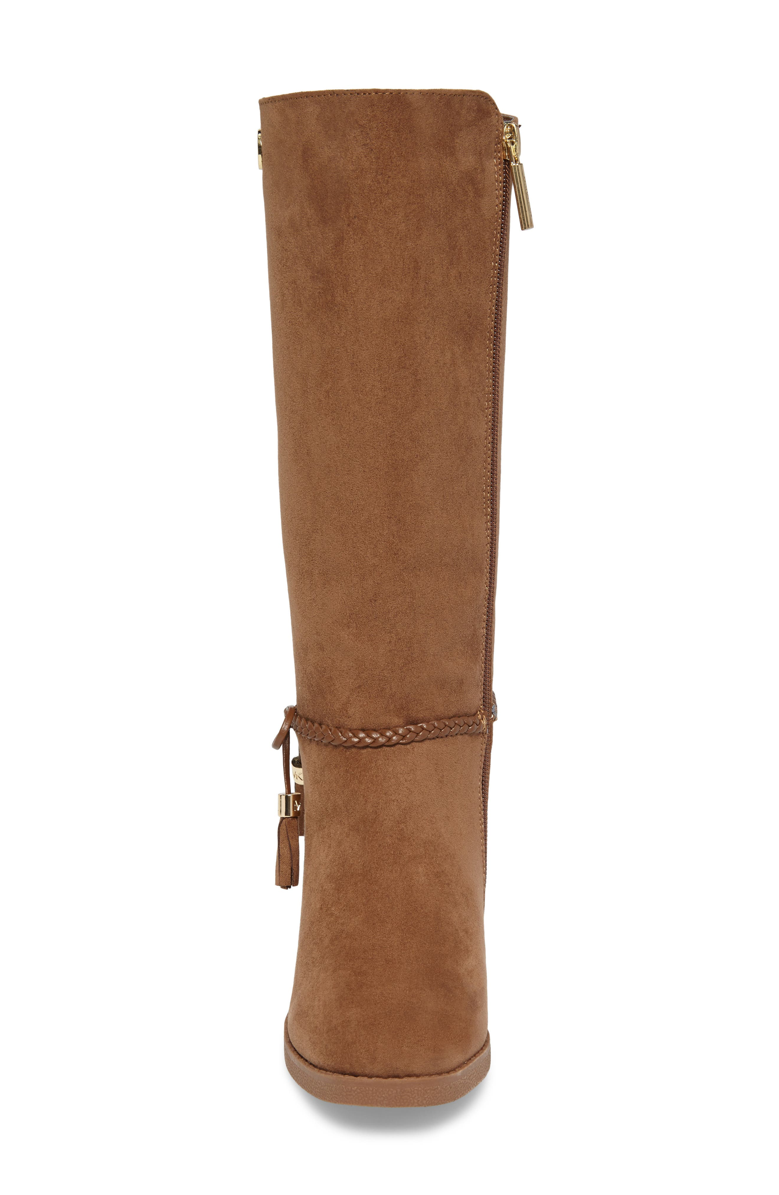 Fawn Simmy Riding Boot,                             Alternate thumbnail 4, color,                             Caramel Faux Suede