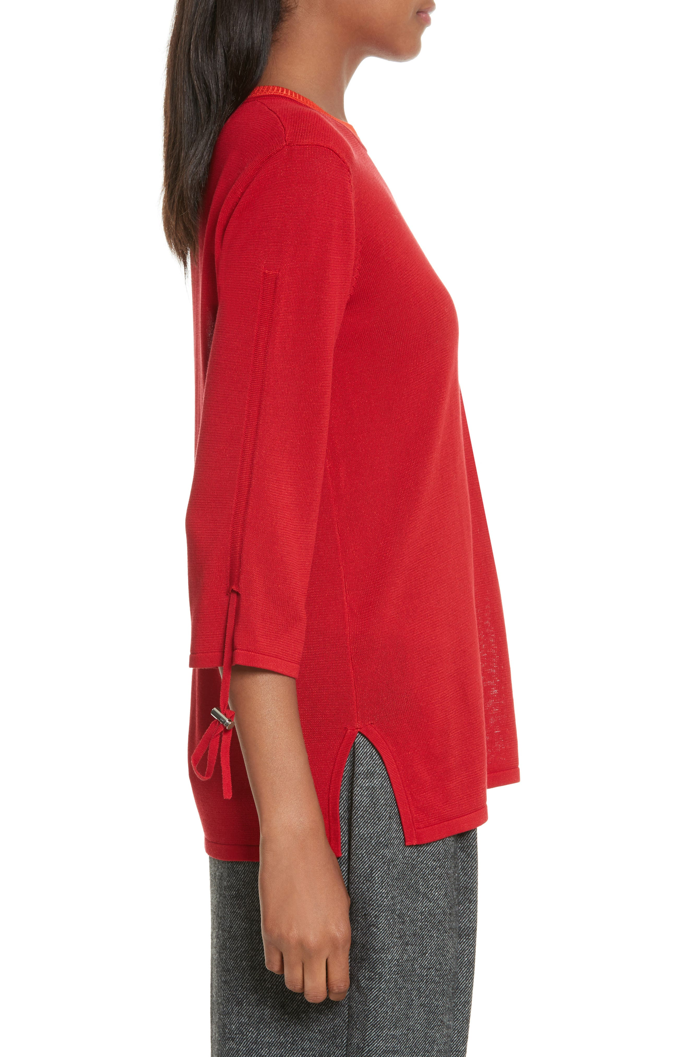 Ruched Sleeve Sweater,                             Alternate thumbnail 4, color,                             Cherry