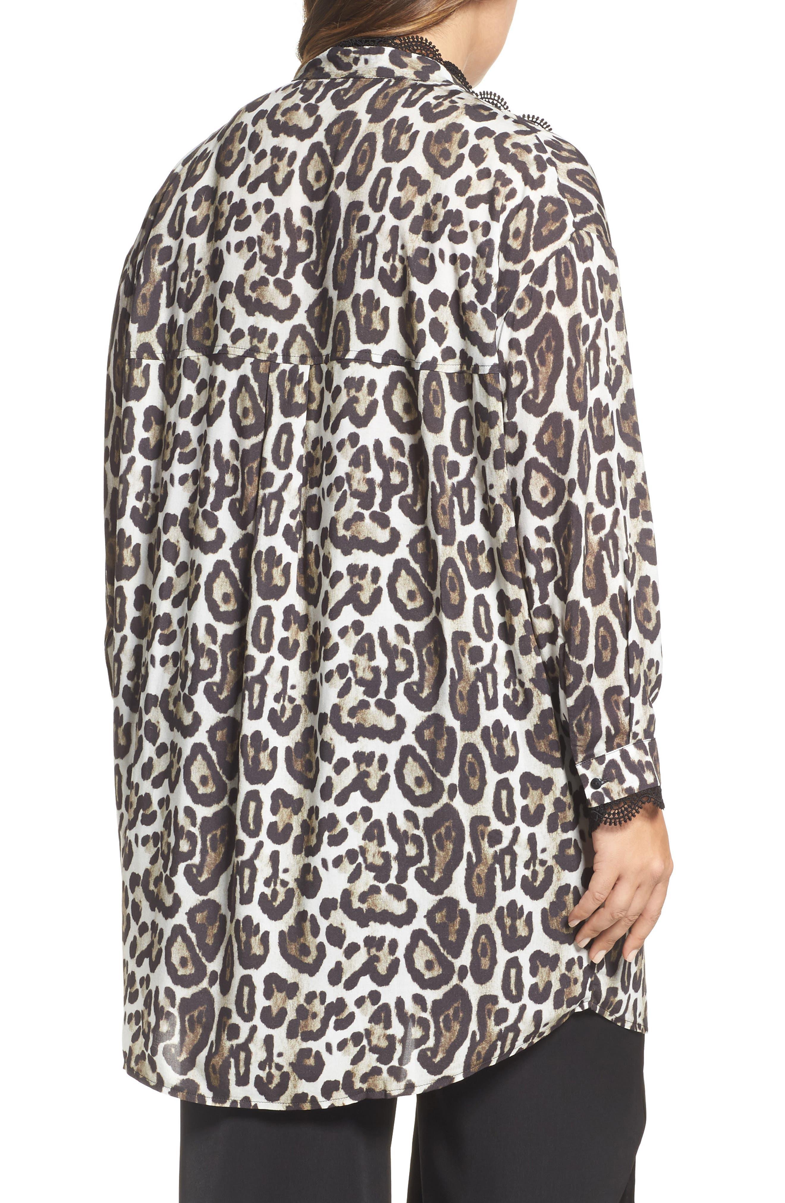 Oversize Leopard Print Blouse,                             Alternate thumbnail 2, color,                             Black/ Multi