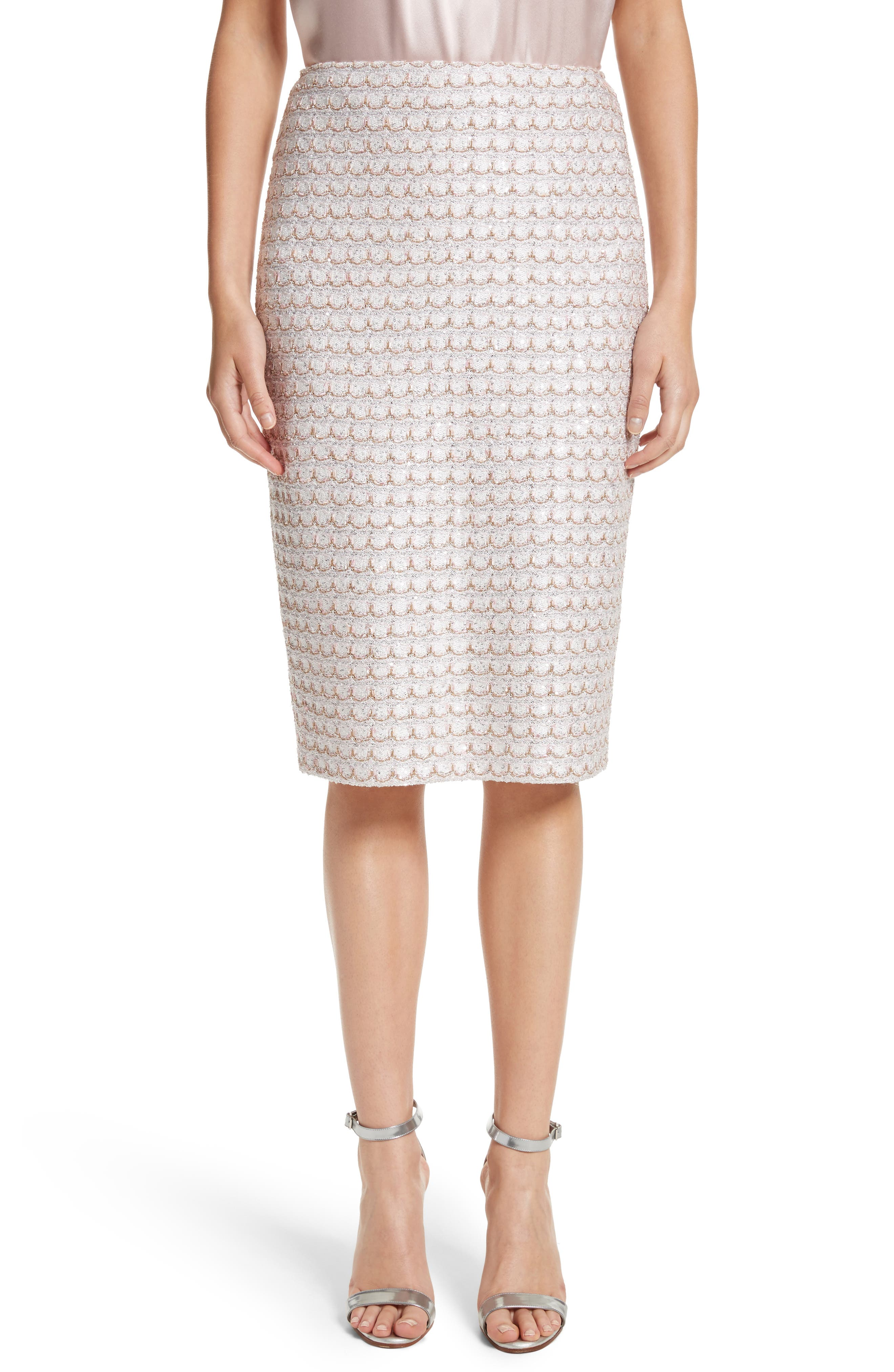 Sequin Scallop Tweed Pencil Skirt,                             Main thumbnail 1, color,                             Bianco Multi
