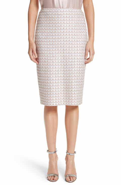St. John Collection Sequin Scallop Tweed Pencil Skirt
