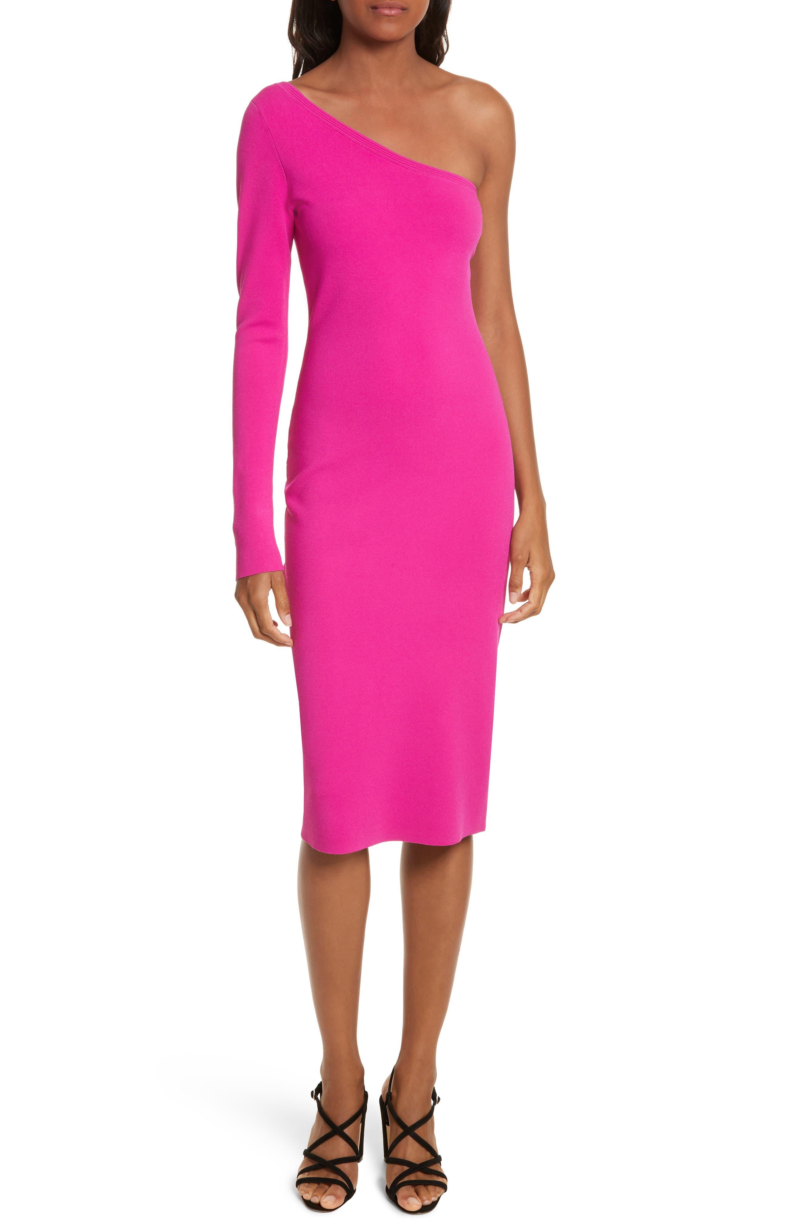 Diane von Furstenberg Knit One-Shoulder Midi Dress,                         Main,                         color, Ribbon Pink