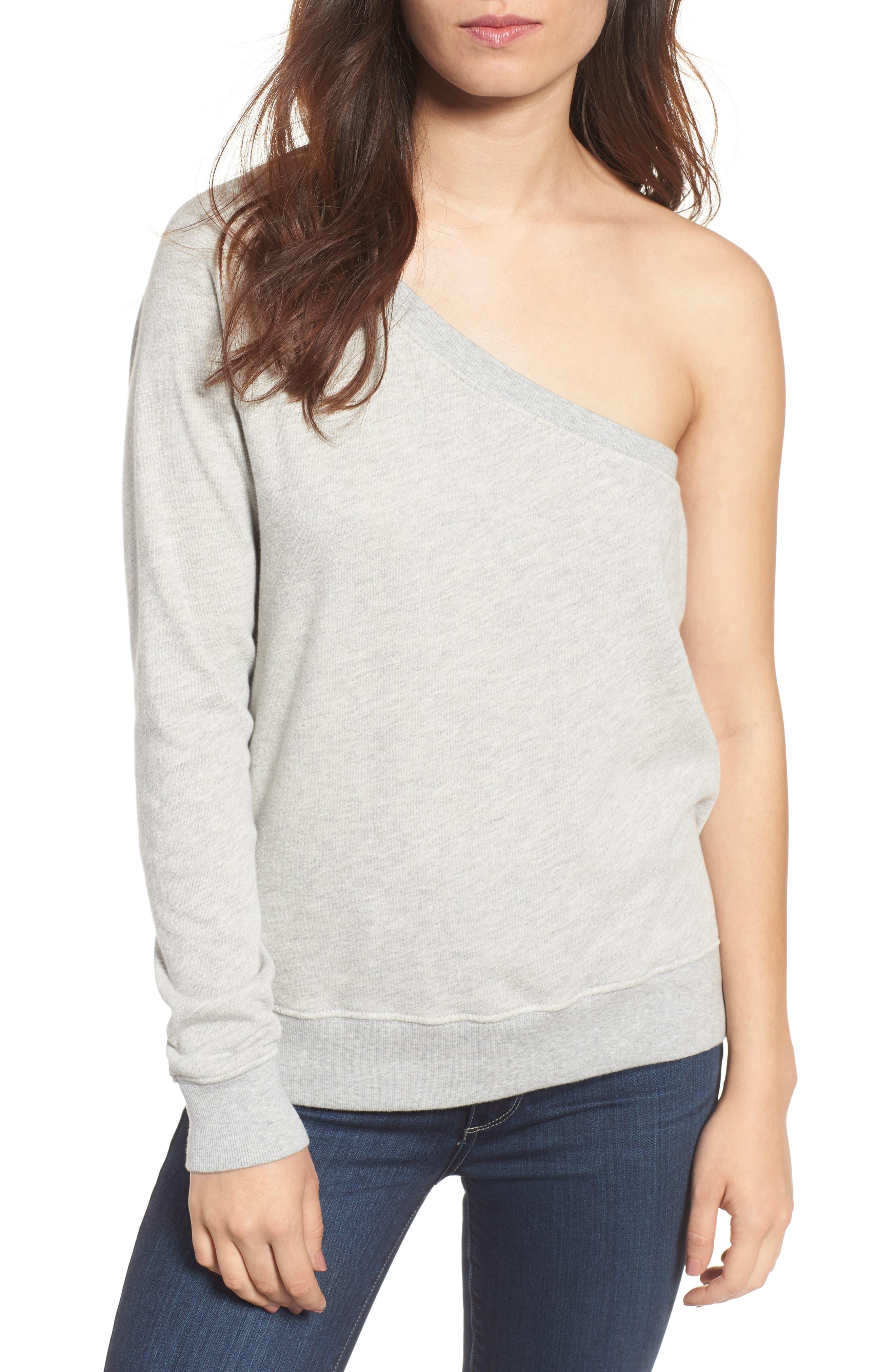 One-Shoulder Sweatshirt,                         Main,                         color, Heather Grey