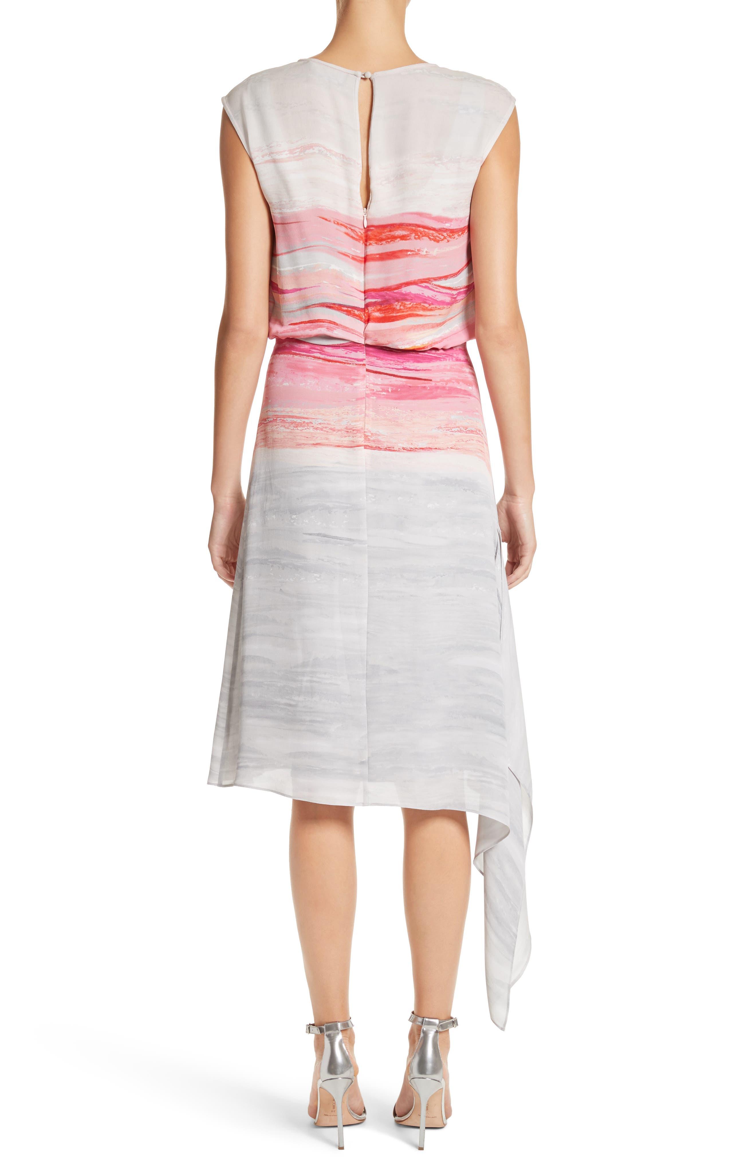 Textured Brushstroke Print Silk Satin Dress,                             Alternate thumbnail 2, color,                             Bright Coral Multi