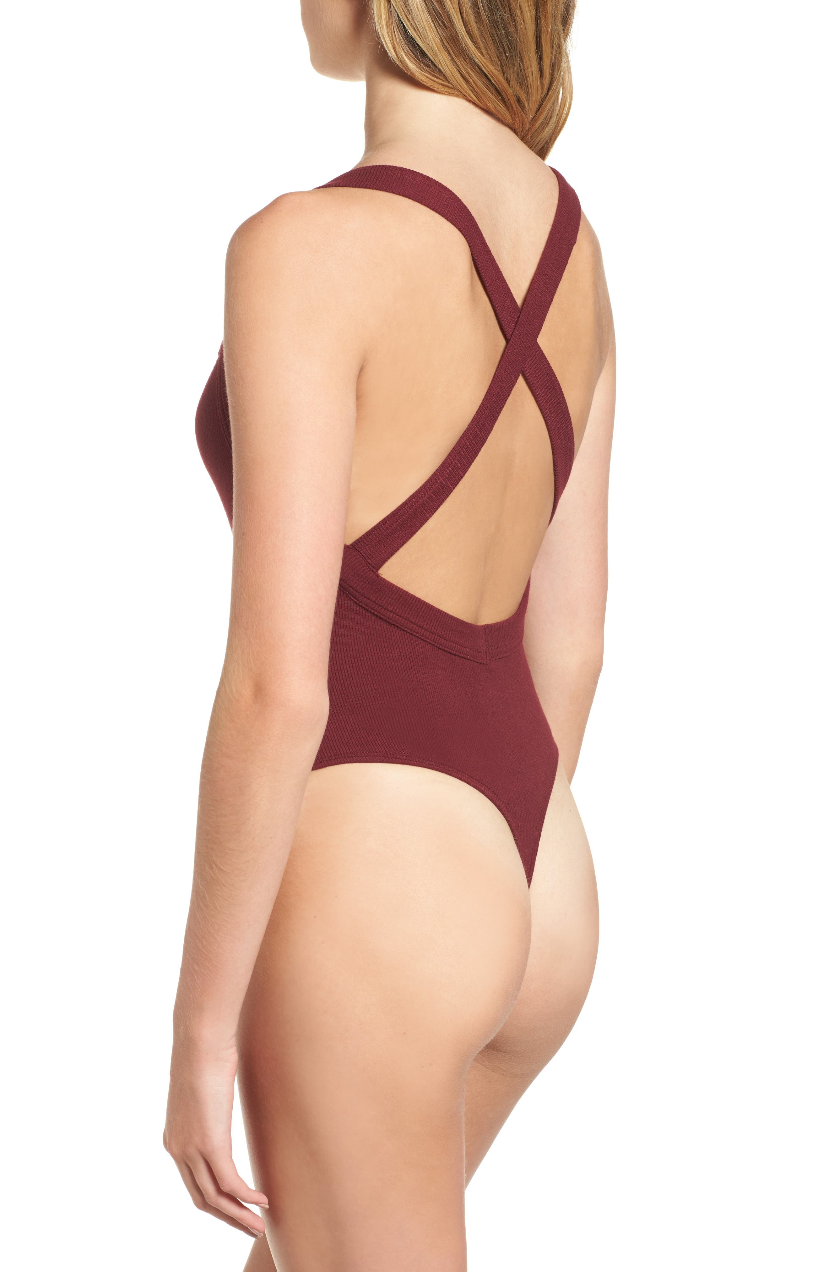 Thong Bodysuit,                             Alternate thumbnail 2, color,                             Burgundy