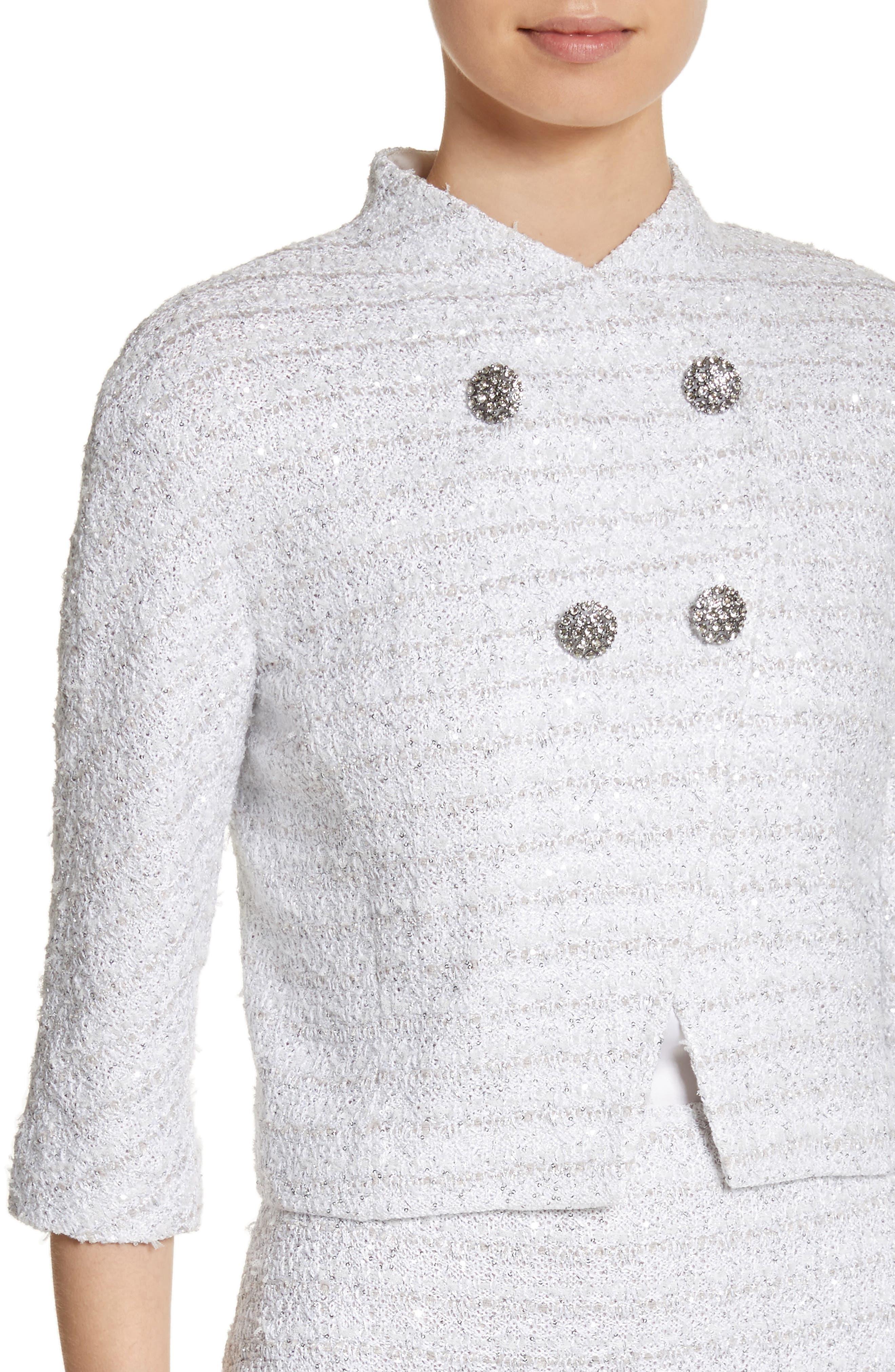 Frosted Metallic Tweed Jacket,                             Alternate thumbnail 4, color,                             Bianco Multi