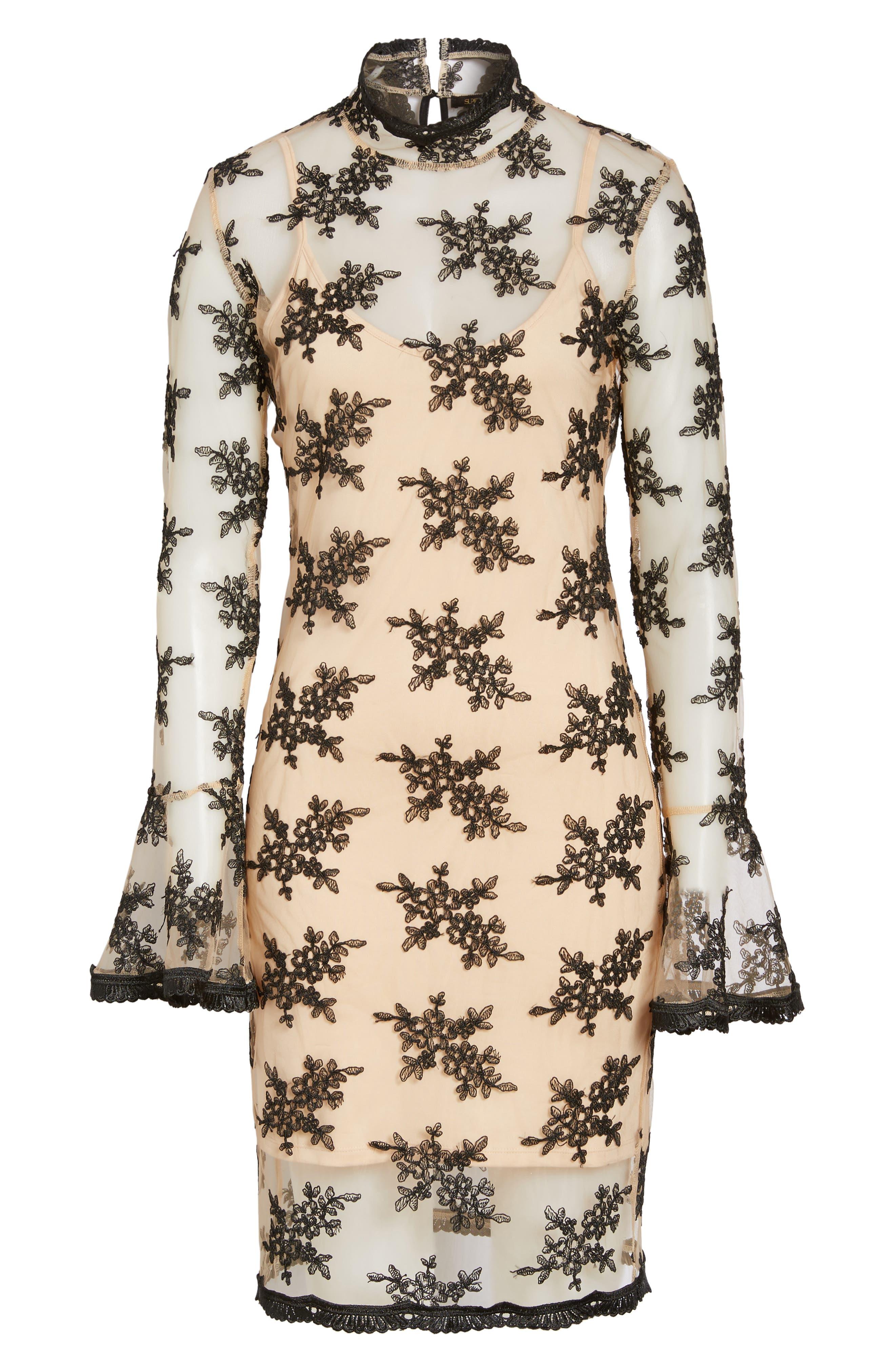 Desh Embroidered Dress,                             Alternate thumbnail 6, color,                             Black