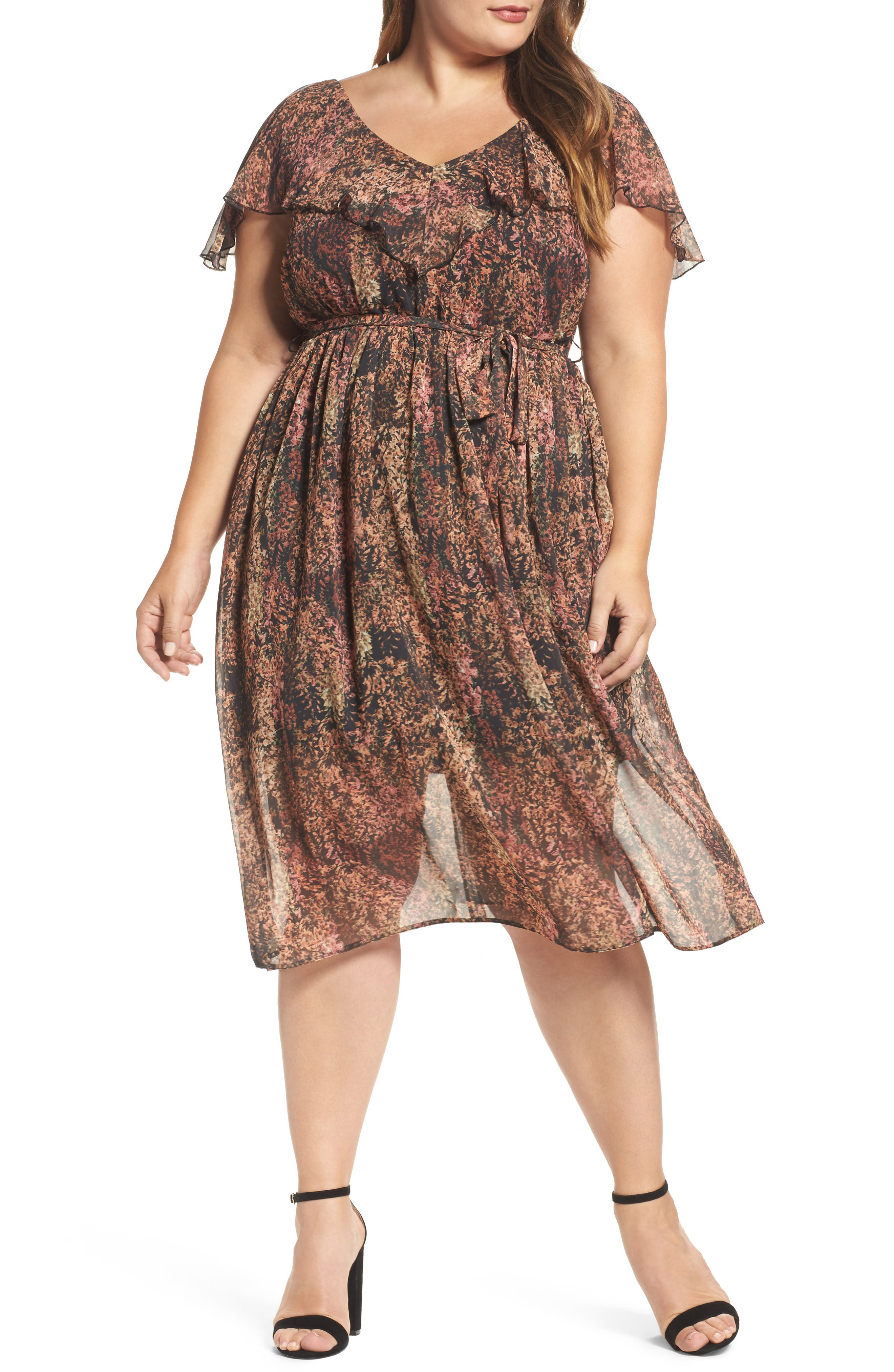 ELVI Rustic Floral A-Line Dress (Plus Size)
