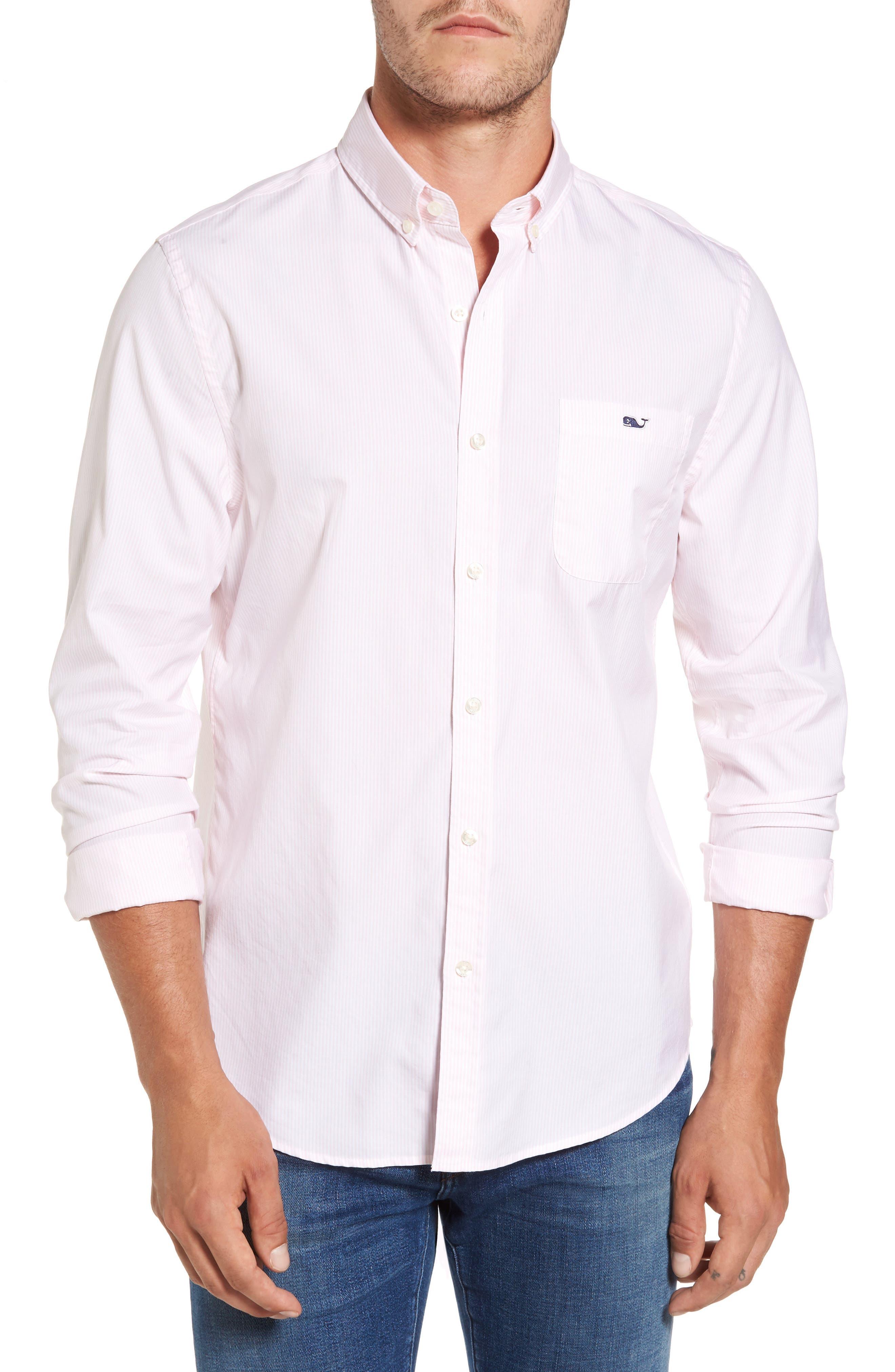 Seabird Stripe Tucker Slim Fit Sport Shirt,                         Main,                         color, Flamingo
