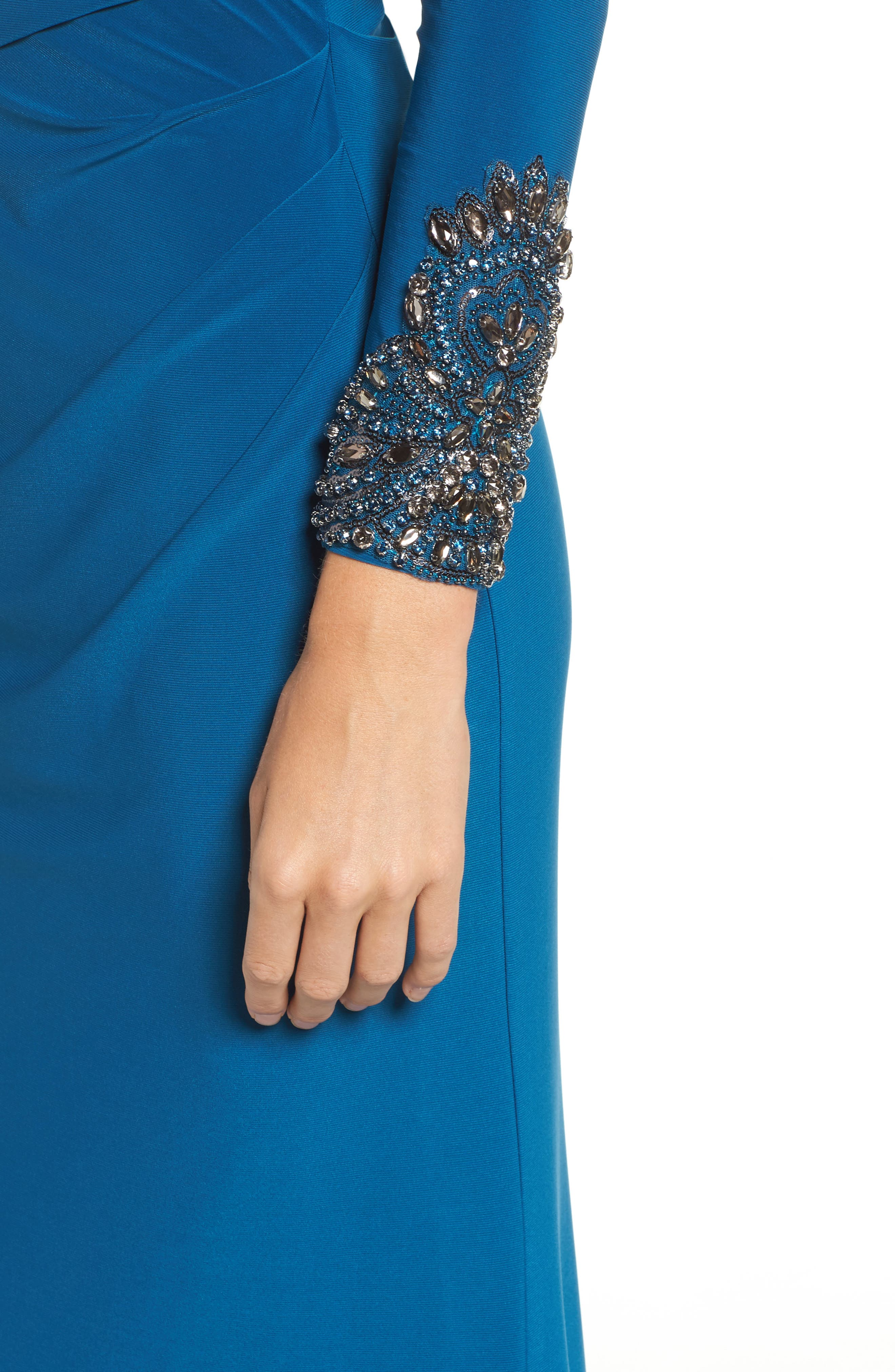 Embellished Sleeve Drape Gown,                             Alternate thumbnail 3, color,                             Evening Sky