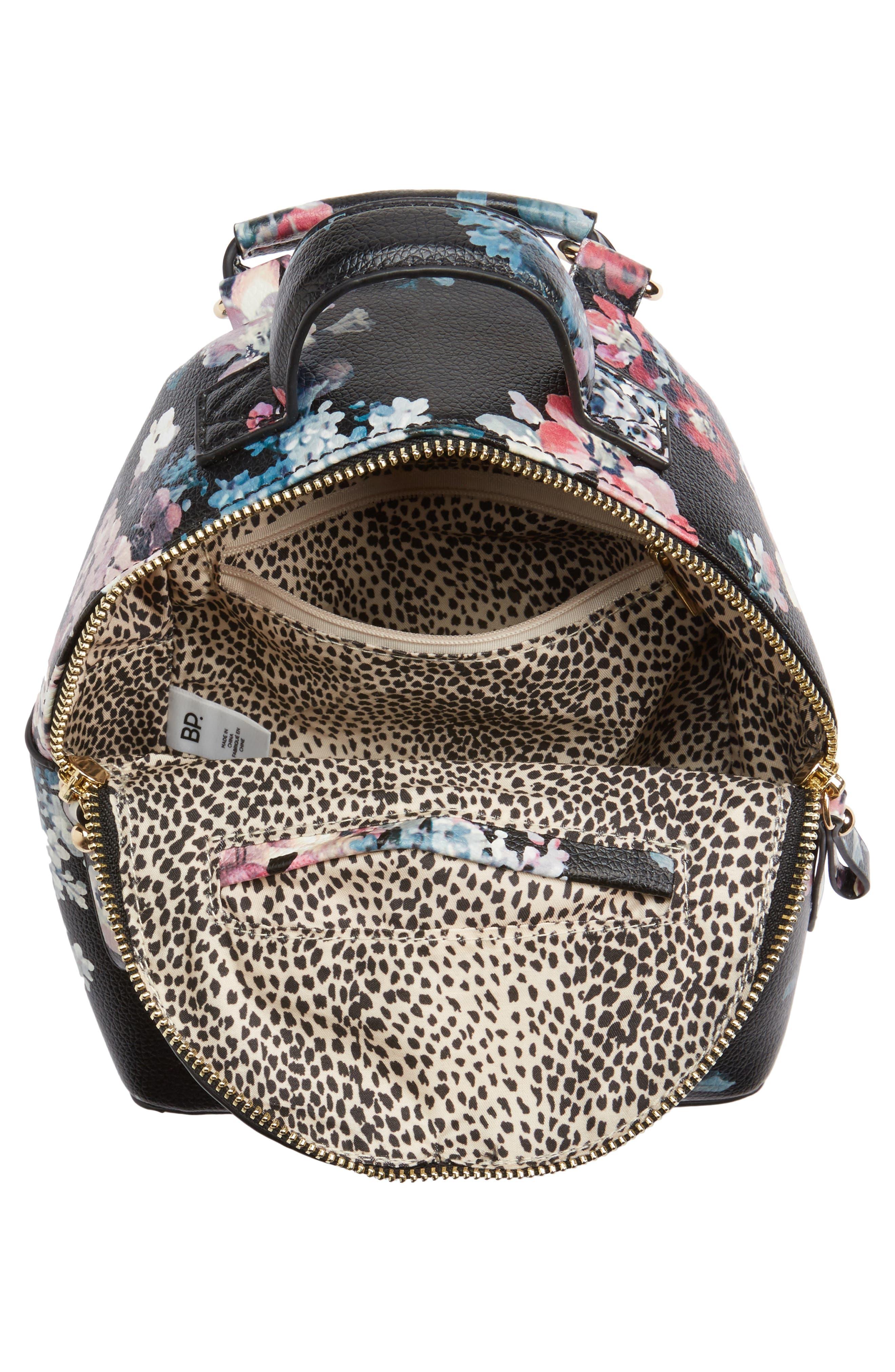 Mini Floral Faux Leather Mini Backpack,                             Alternate thumbnail 3, color,                             Black Floral