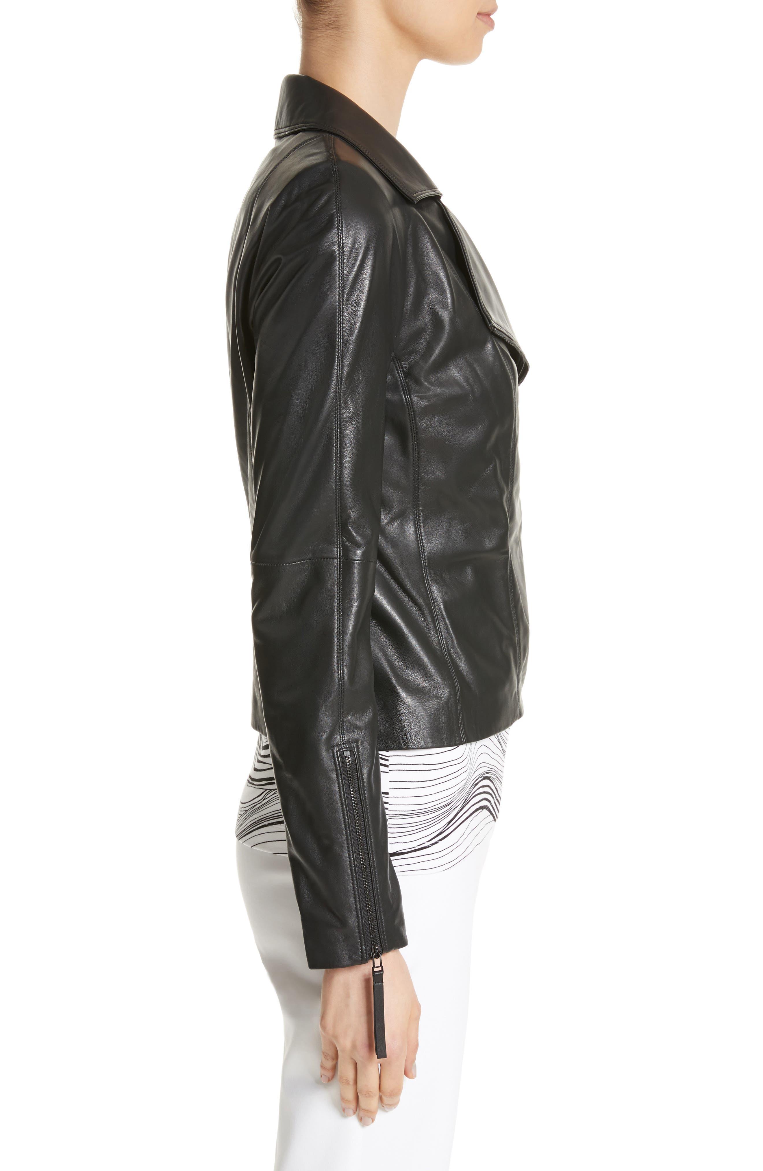 Nappa Leather Moto Jacket,                             Alternate thumbnail 4, color,                             Caviar