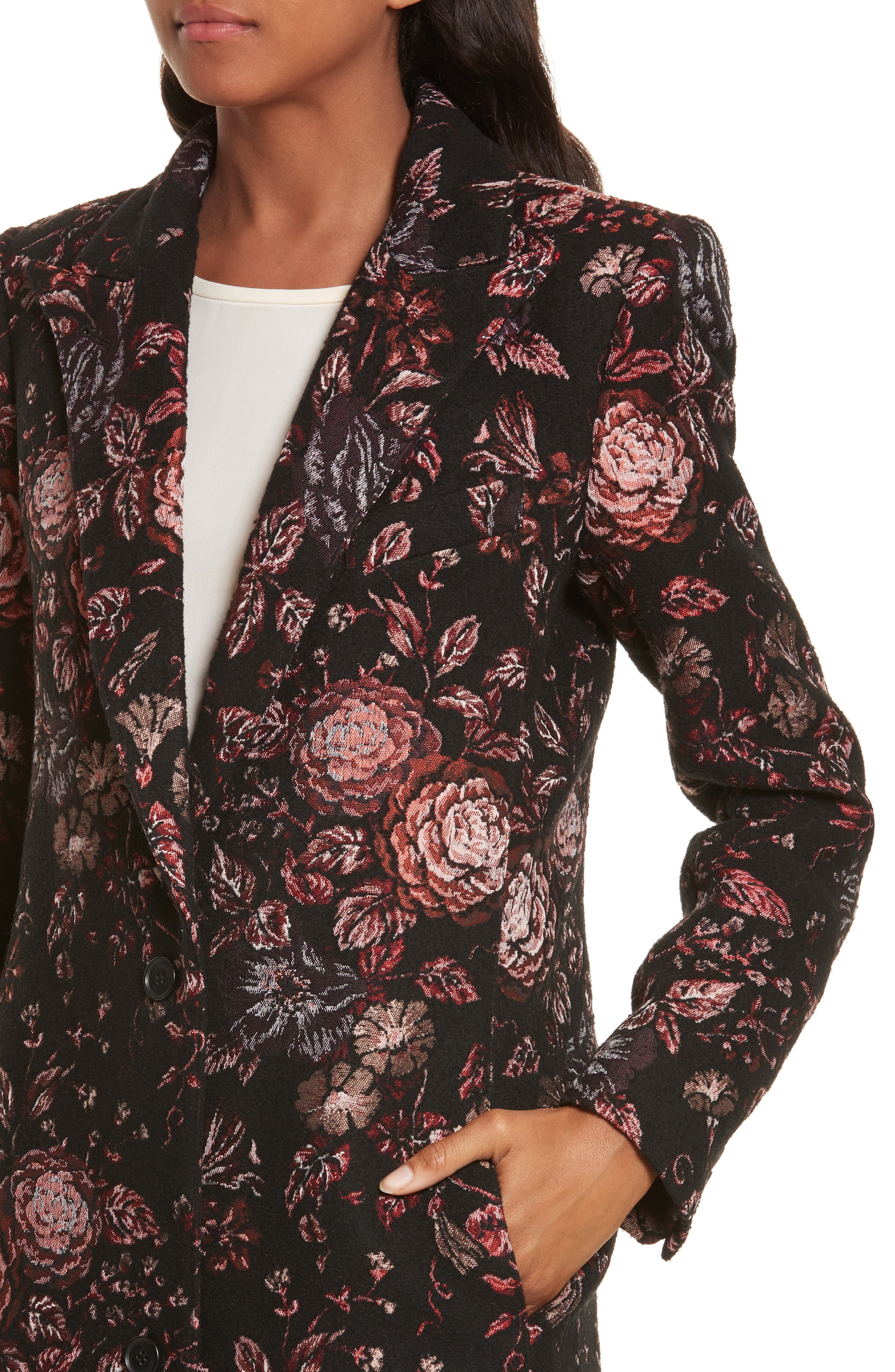 Floral Jacquard Peaked Lapel Coat,                             Alternate thumbnail 4, color,                             Tapestry