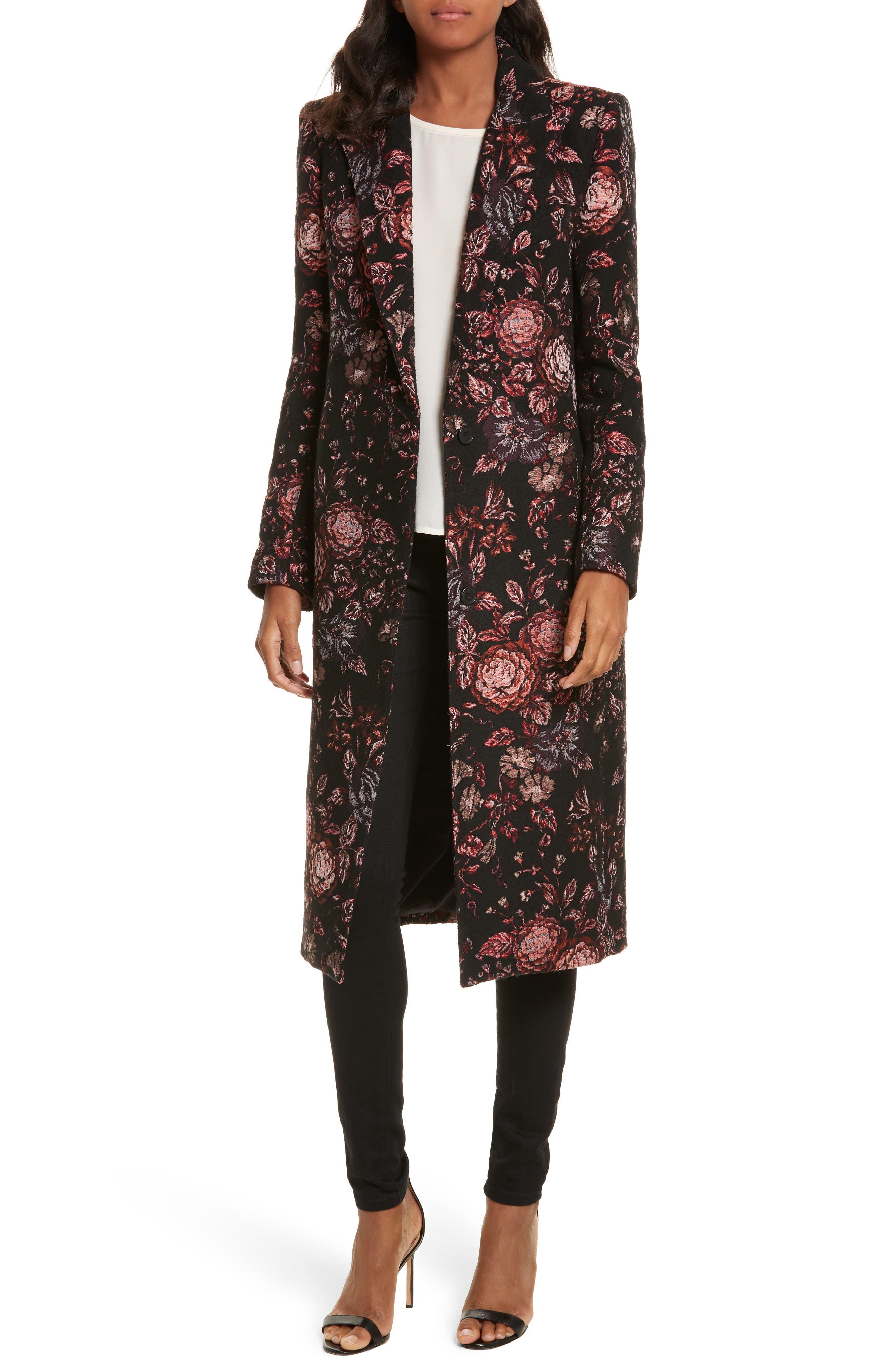 Floral Jacquard Peaked Lapel Coat,                         Main,                         color, Tapestry