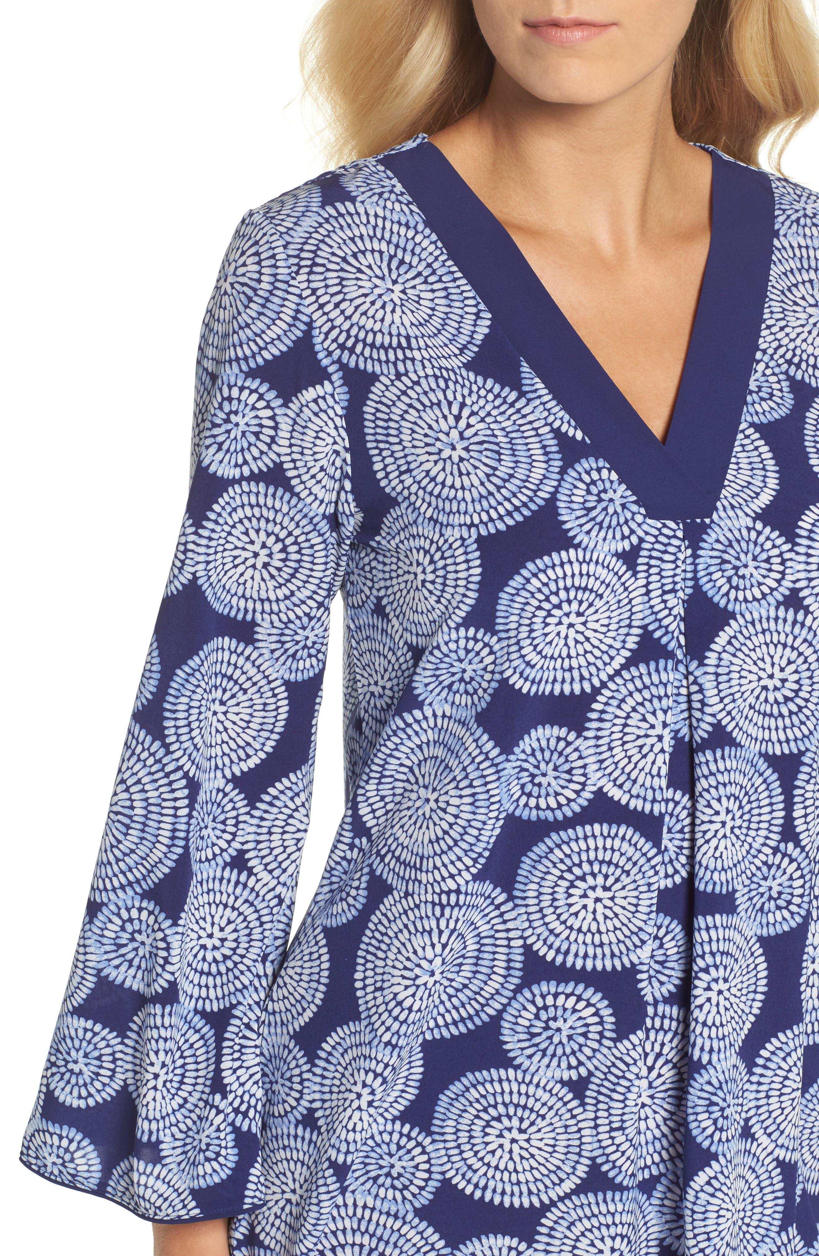 Sleepwear Halftan Short Nightgown,                             Alternate thumbnail 5, color,                             Eclipse Print