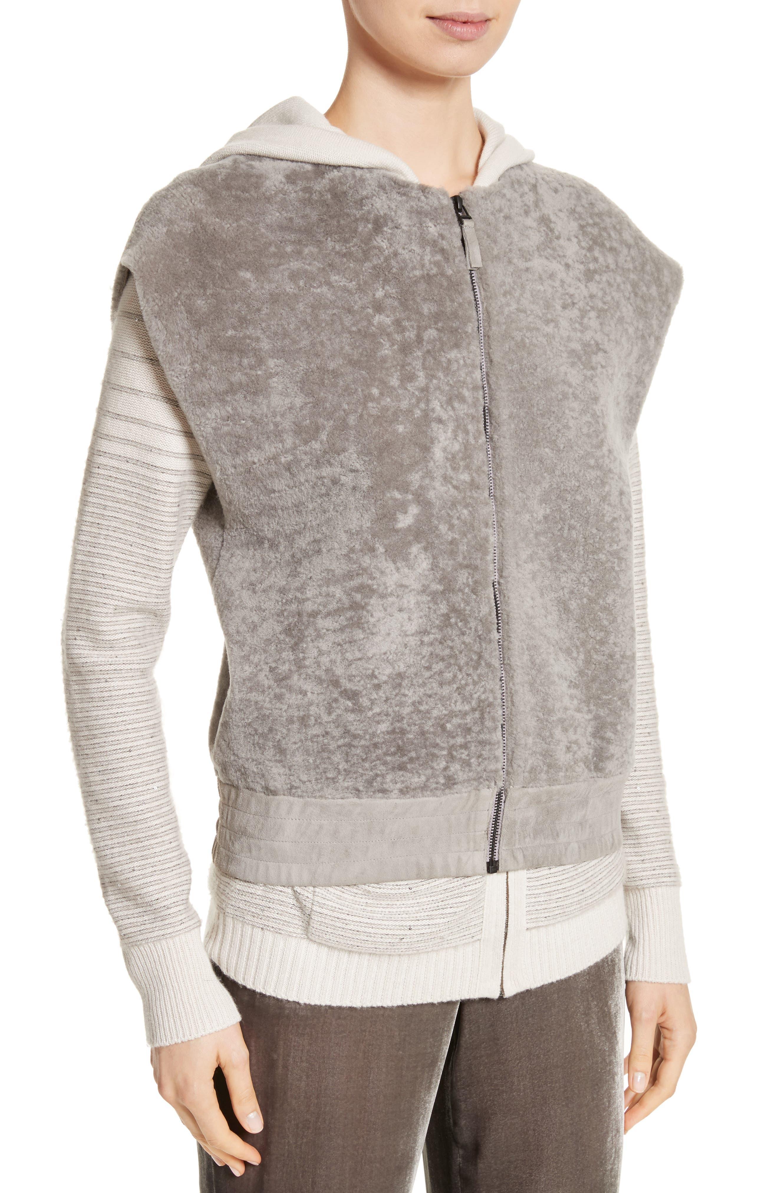 Genuine Shearling Vest,                             Alternate thumbnail 4, color,                             Travertine