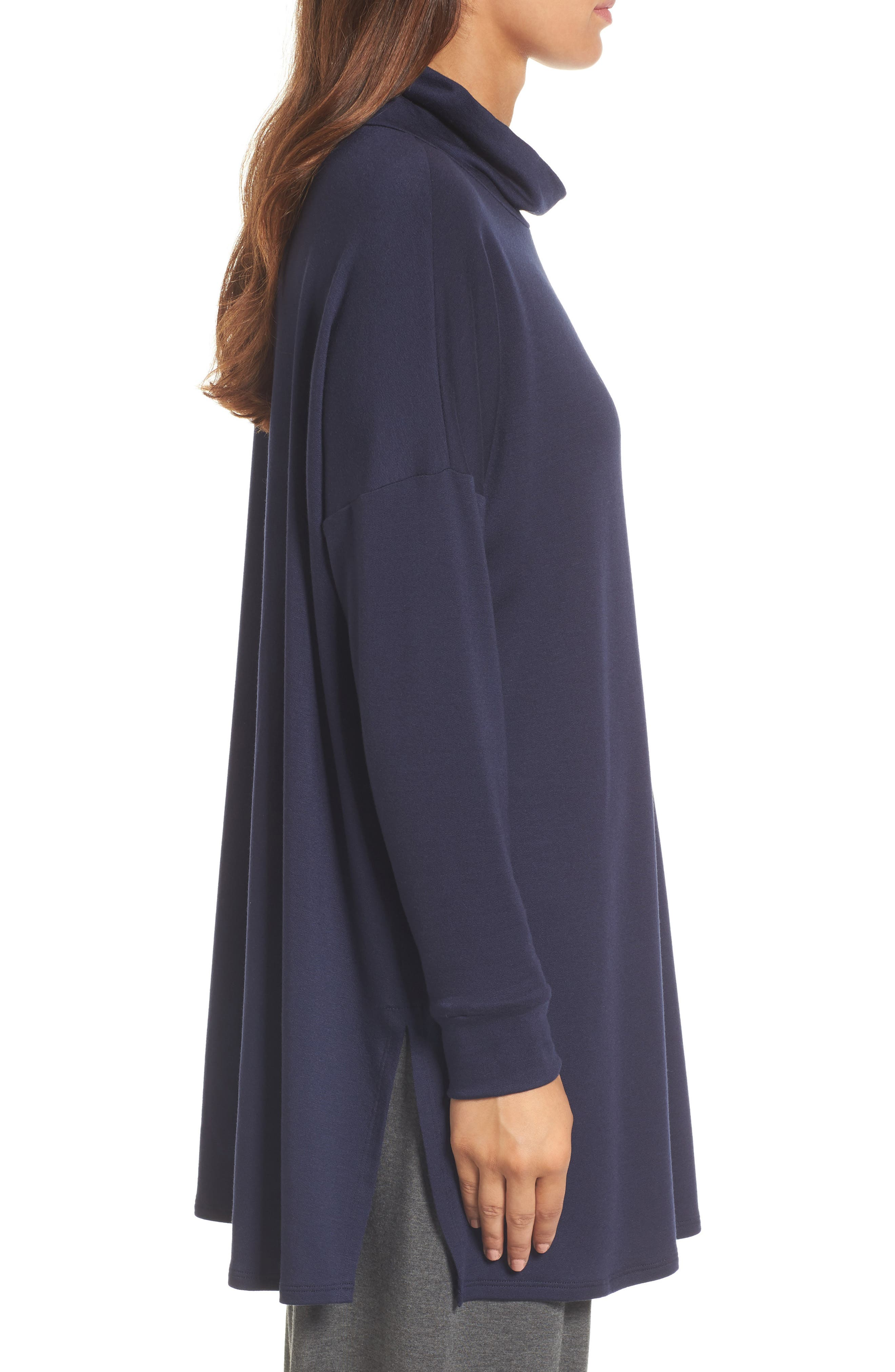 Funnel Neck Knit Tunic,                             Alternate thumbnail 3, color,                             Midnight