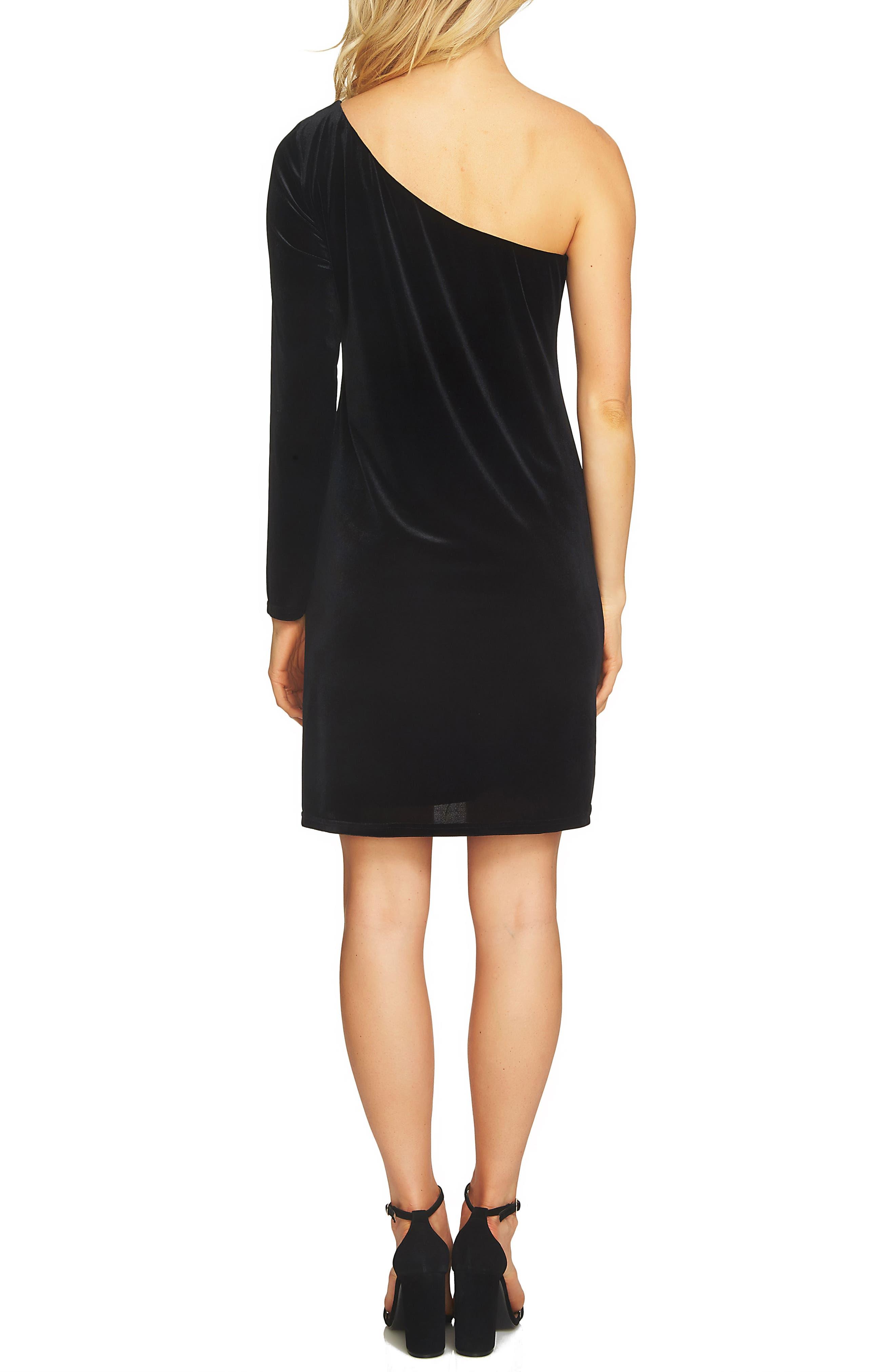 One-Shoulder Velvet Shift Dress,                             Alternate thumbnail 2, color,                             Rich Black