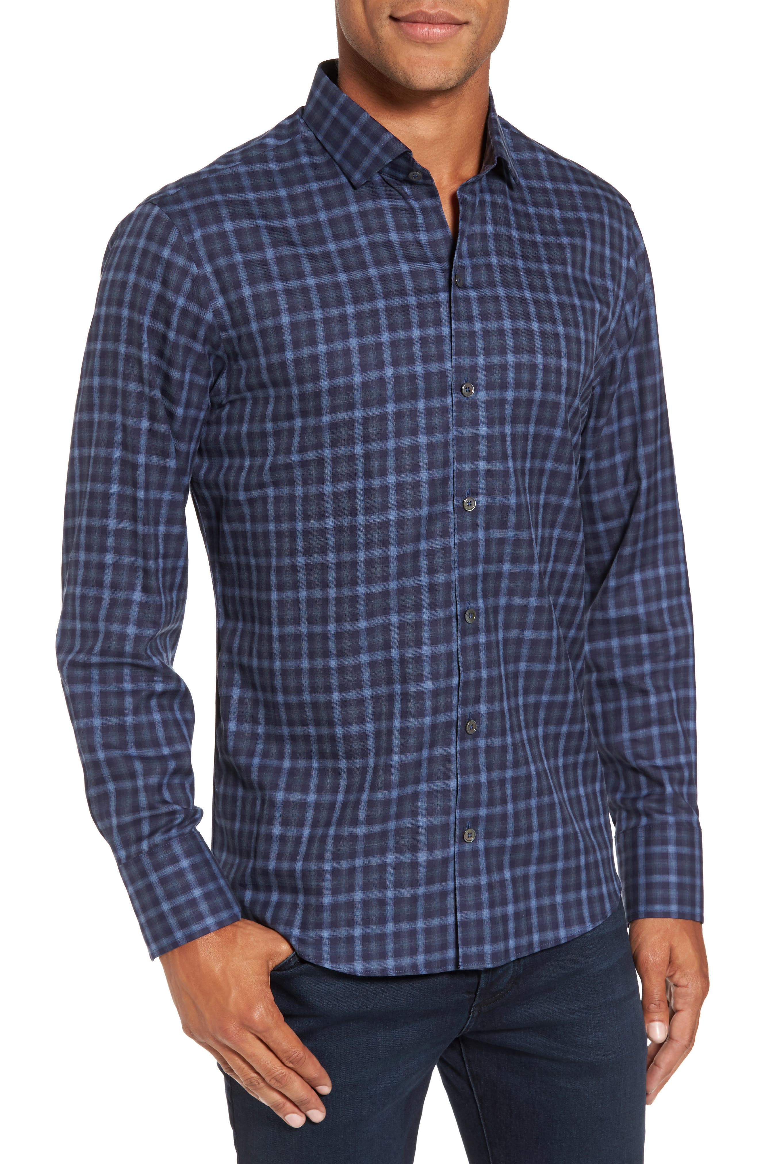 Zachary Prell Goldstein Slim Fit Plaid Sport Shirt