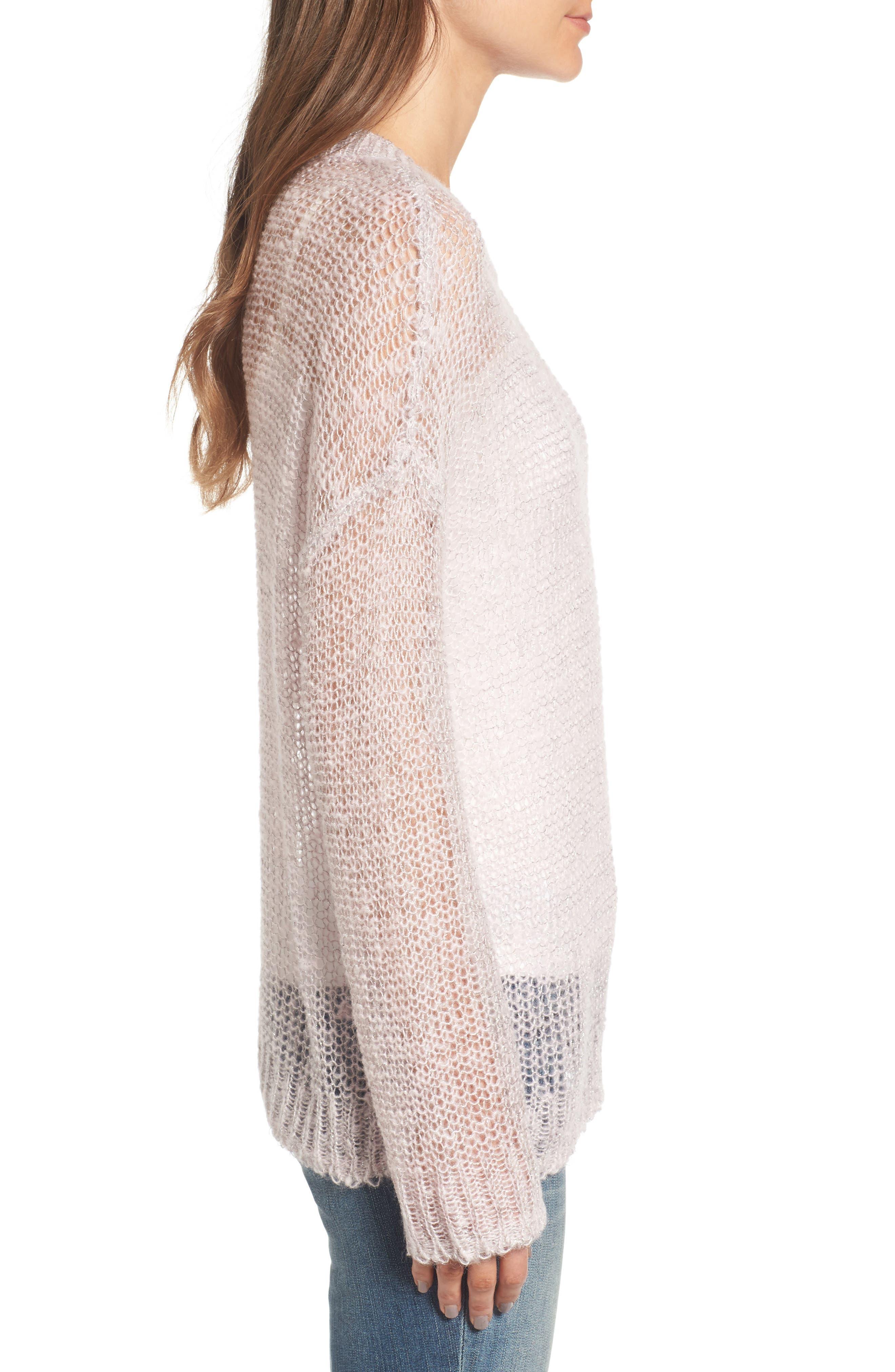 x Something Navy Sheer Metallic Sweater,                             Alternate thumbnail 3, color,                             Pink Parfait Combo