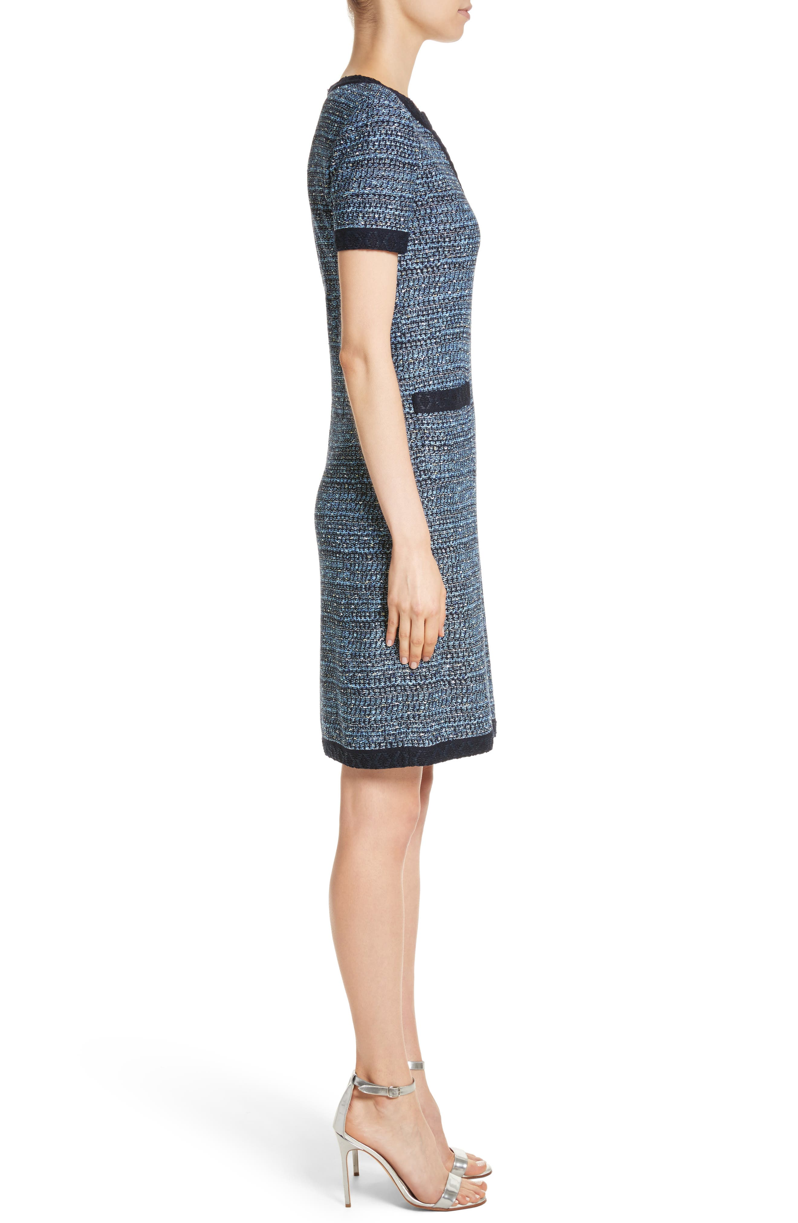 Short Sleeve Knit Dress,                             Alternate thumbnail 3, color,                             Navy Multi