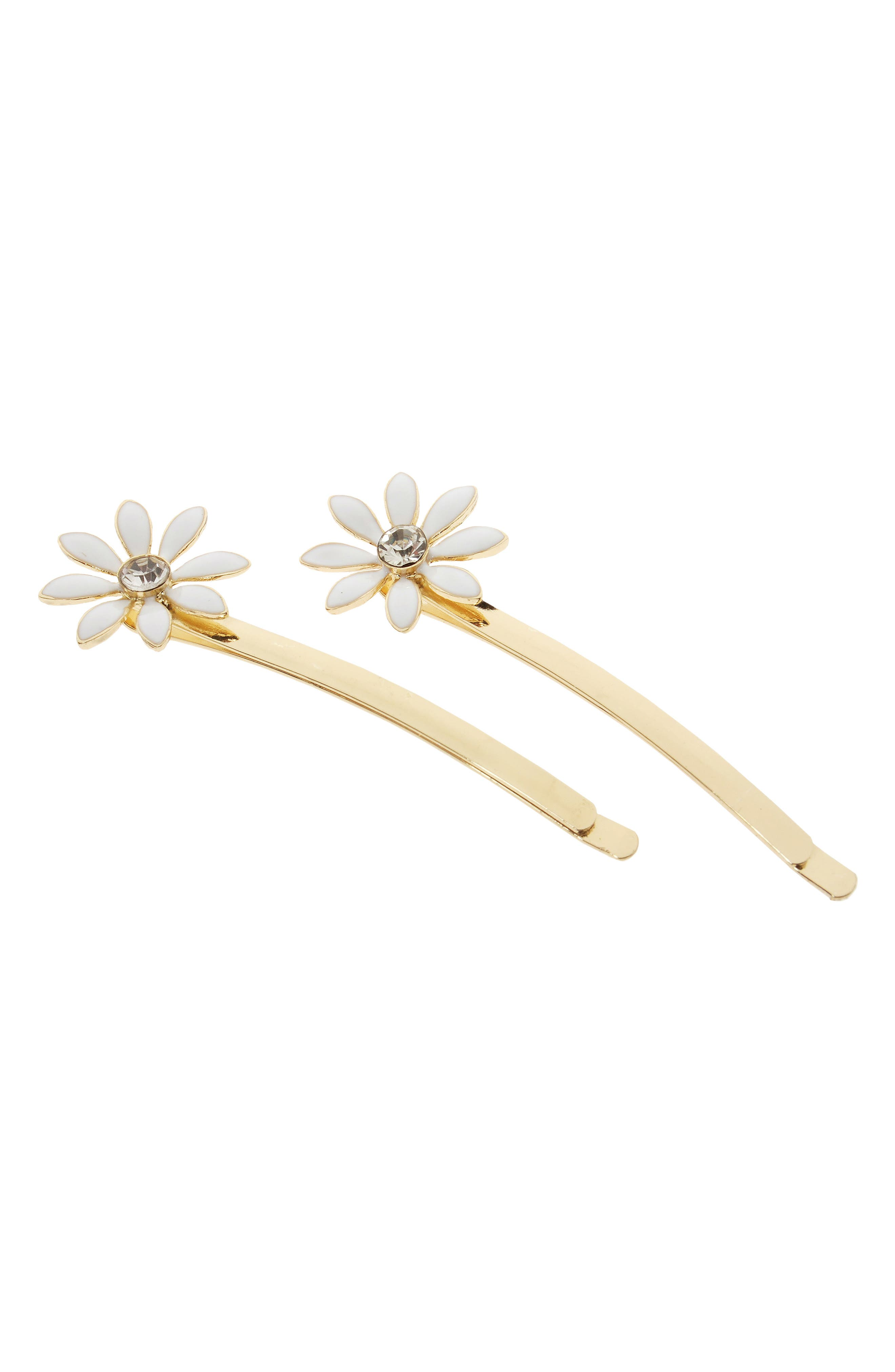 Alternate Image 1 Selected - L. Erickson 2-Pack Daisy Bobby Pins