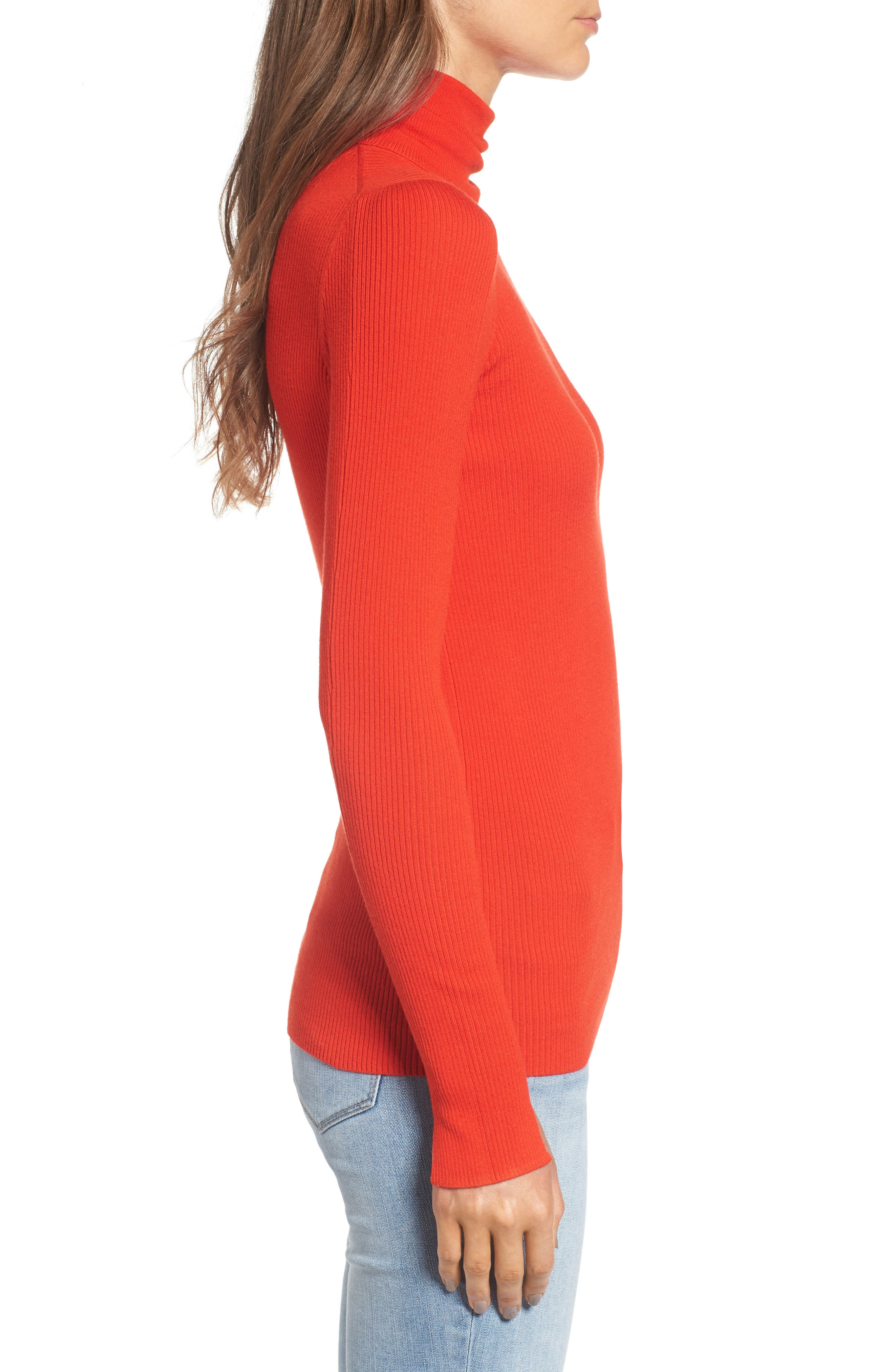 x Something Navy Turtleneck Sweater,                             Alternate thumbnail 4, color,                             Red Fiery