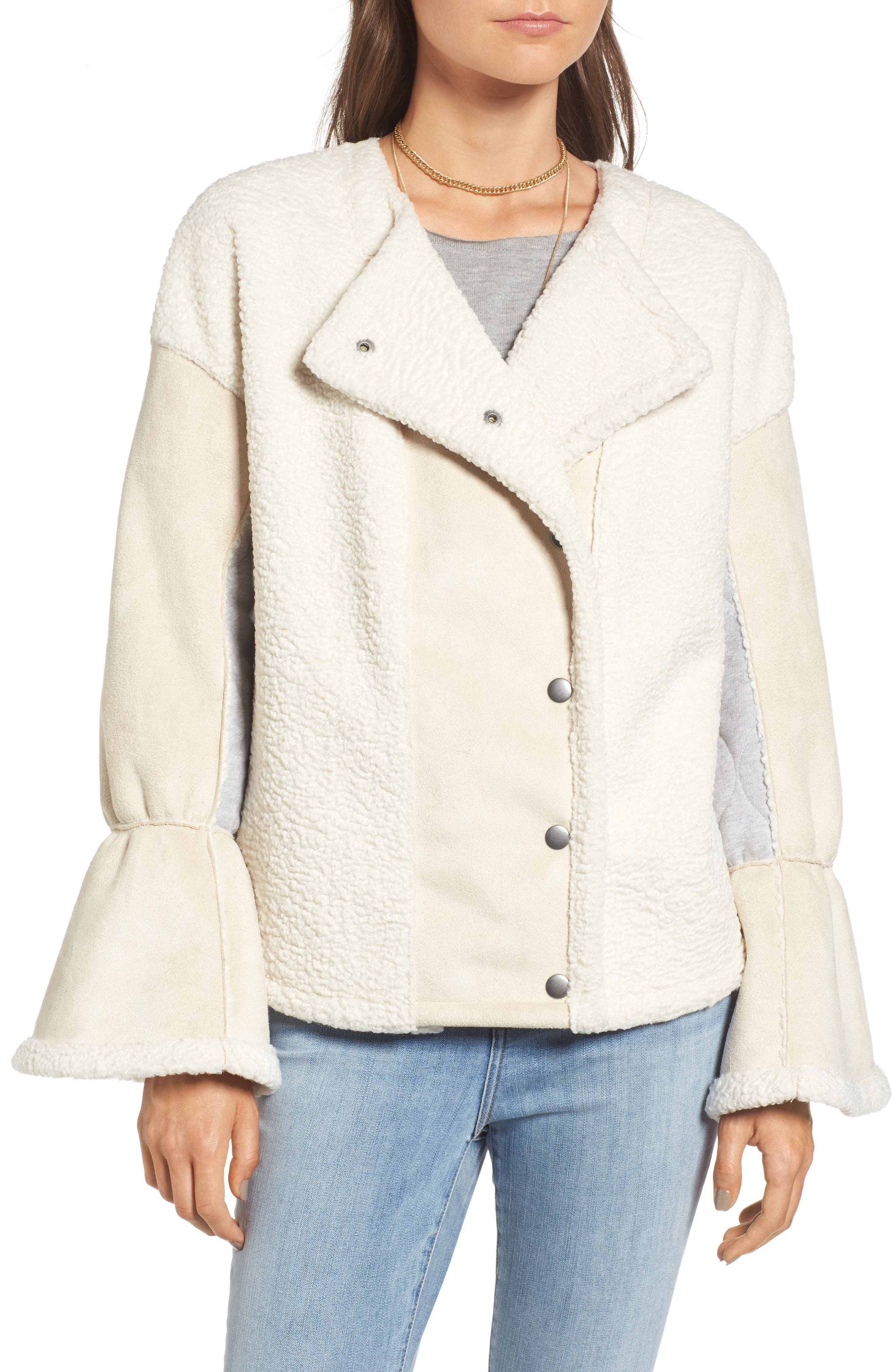 x Something Navy Bell Sleeve Faux Shearling Jacket,                             Alternate thumbnail 5, color,                             Ivory Combo
