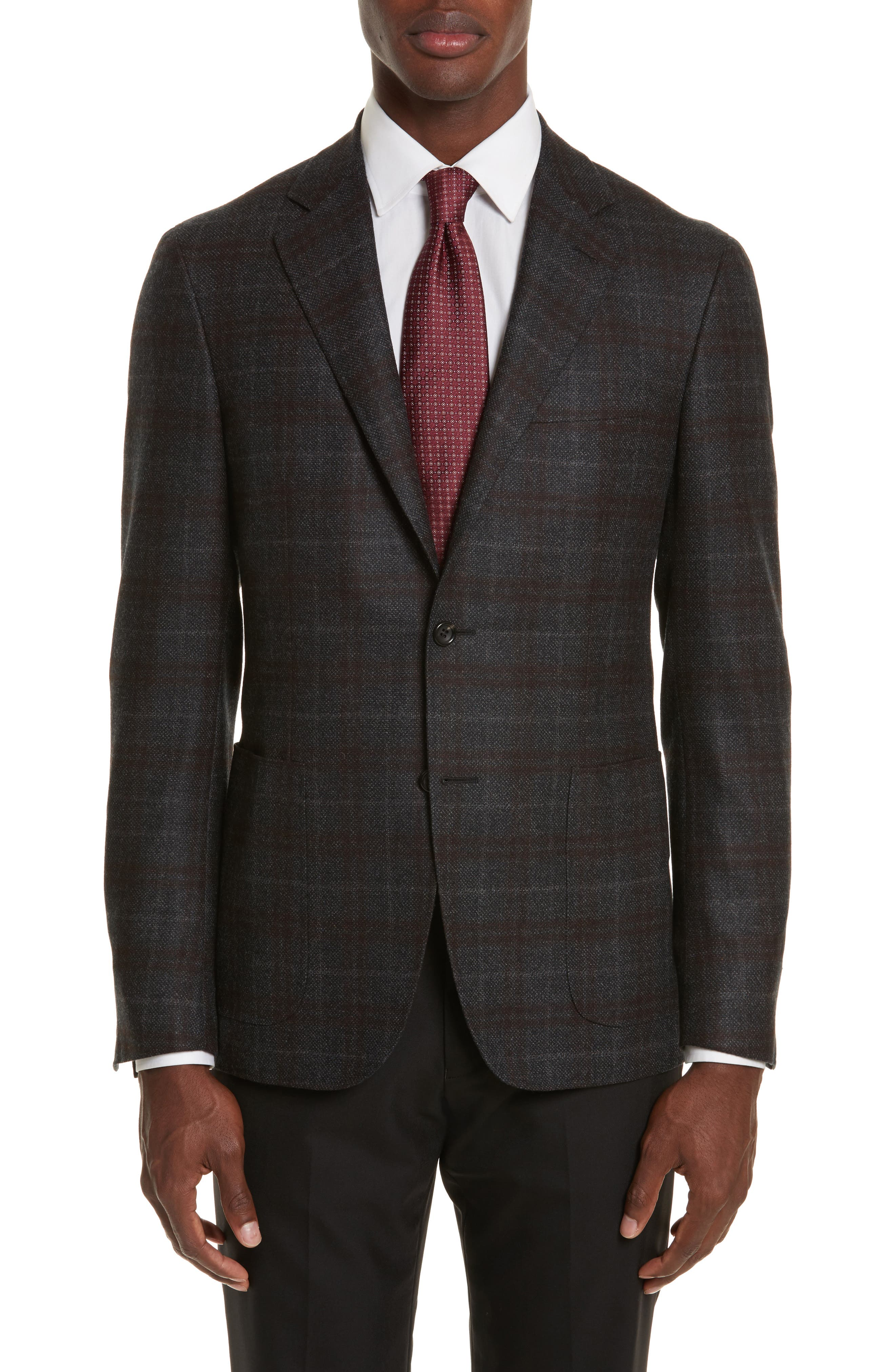 Canali Kei Classic Fit Plaid Wool Sport Coat