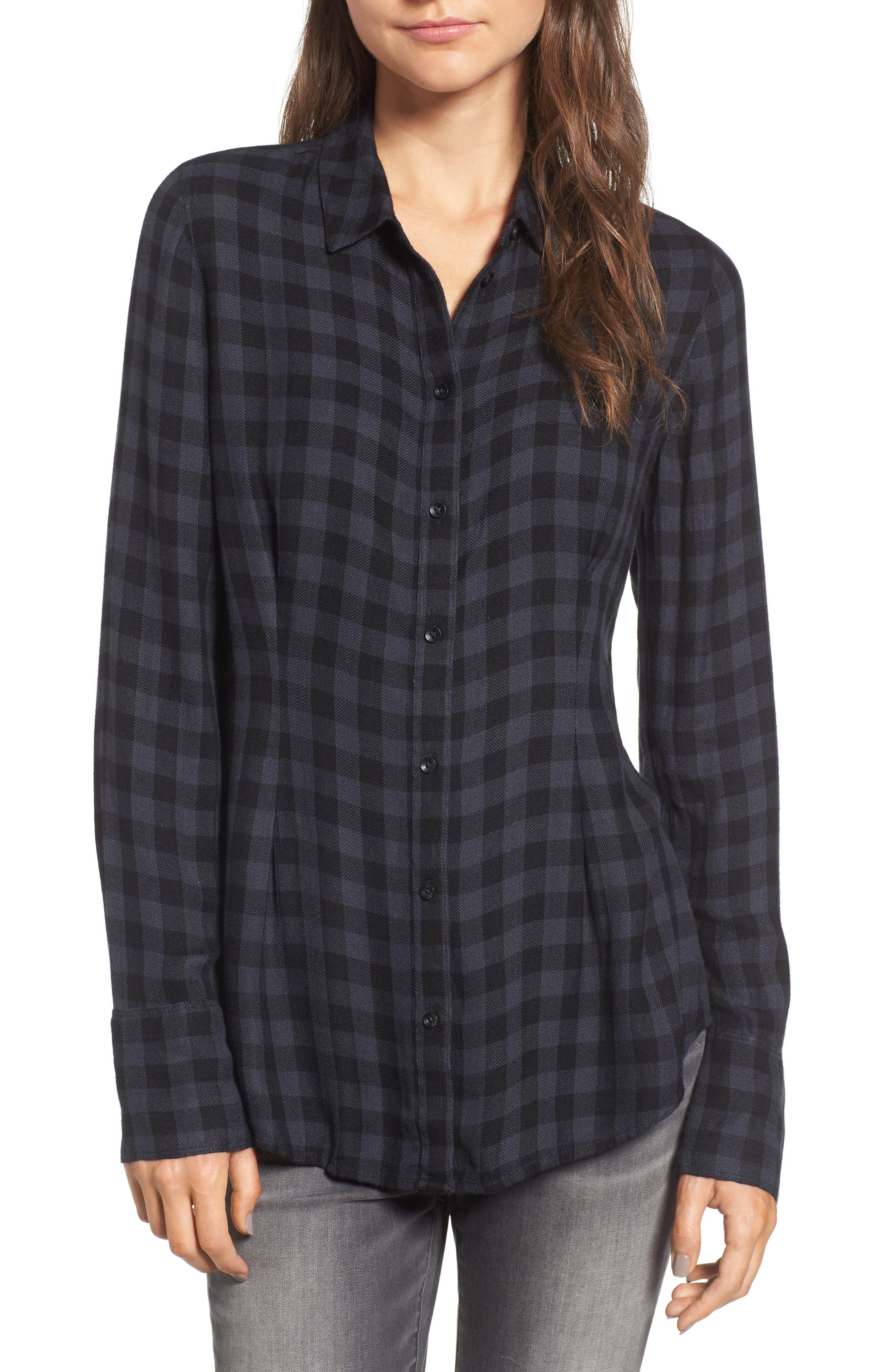 Plaid Corset Shirt,                         Main,                         color, Navy Charcoal Gingham