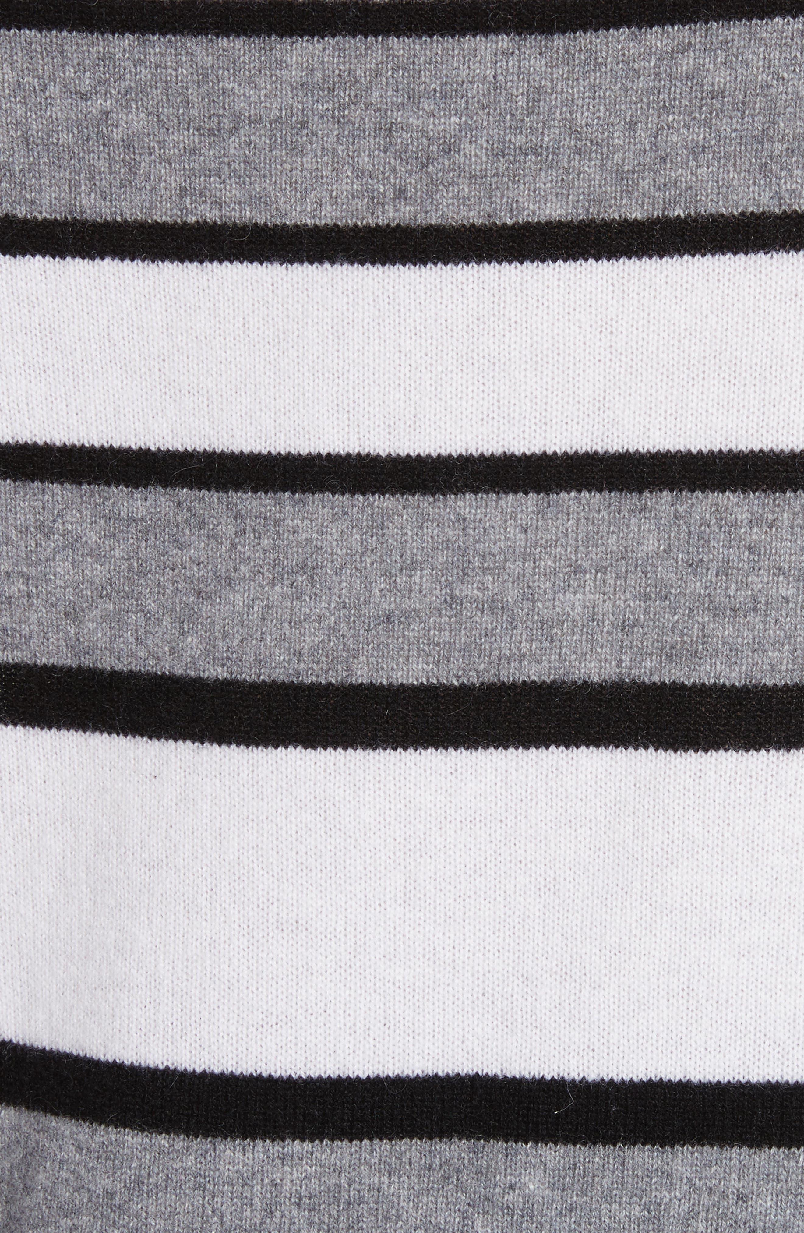 Cody Stripe Cashmere Boat Neck Sweater,                             Alternate thumbnail 5, color,                             Heather Grey Multi