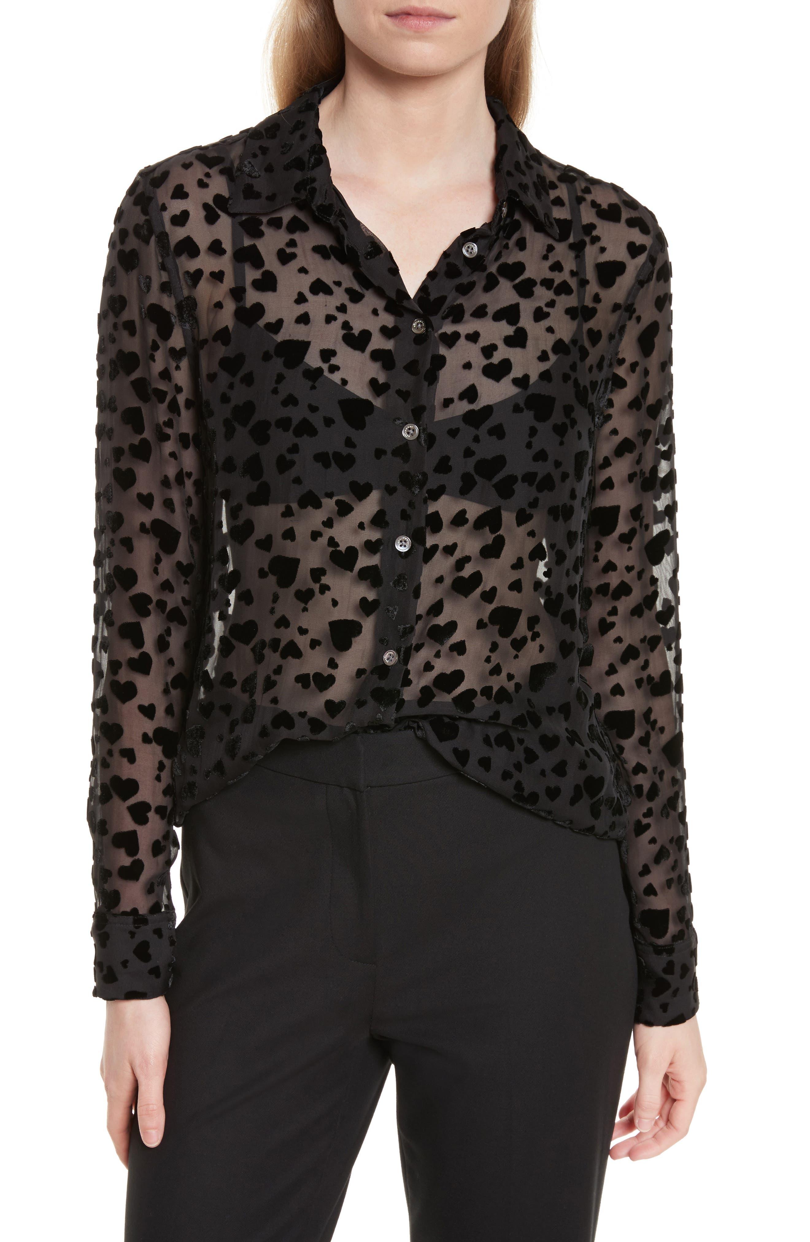 Essential Velvet Burnout Shirt,                         Main,                         color, True Black