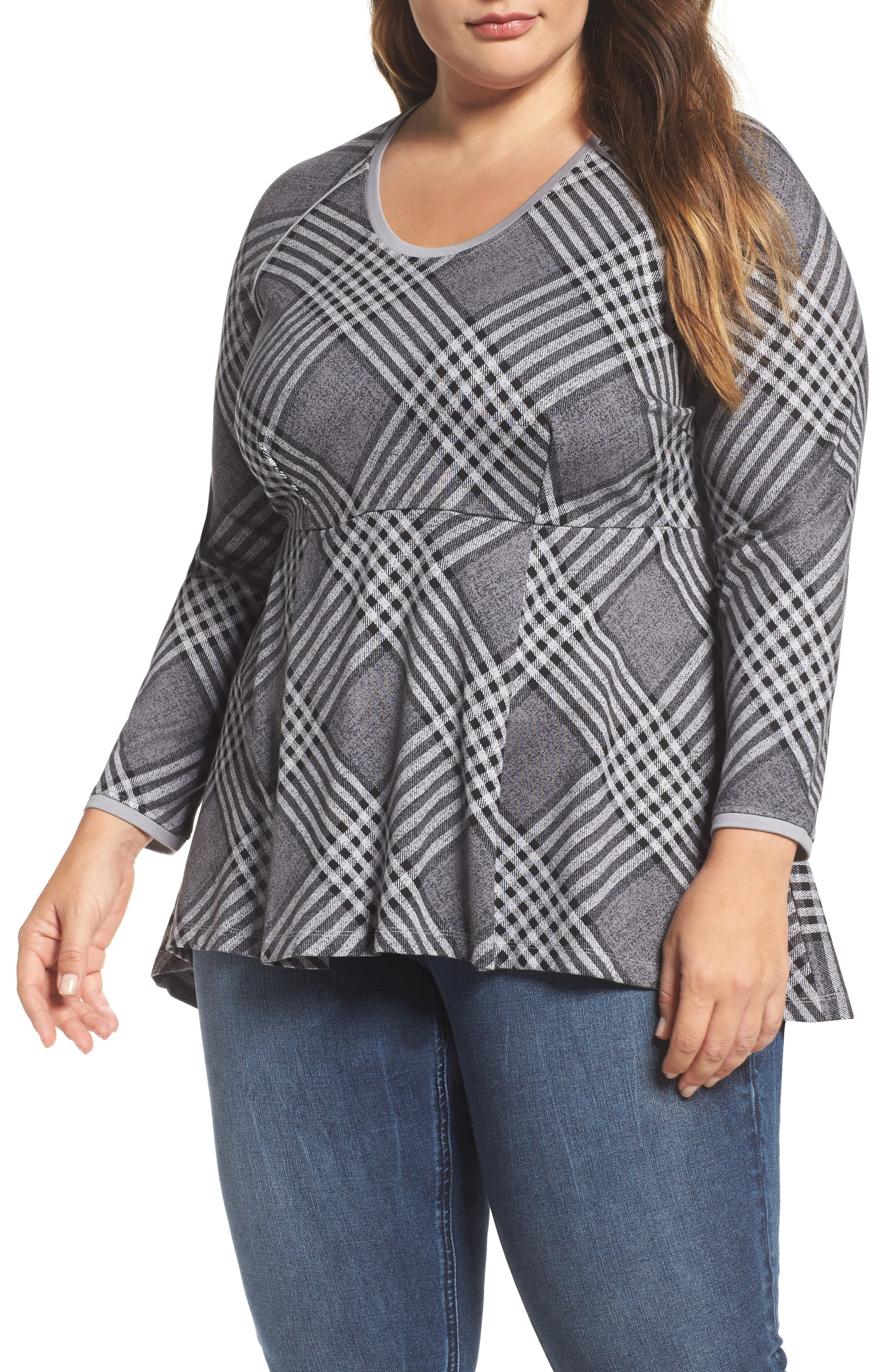 Melissa McCarthy Seven7 Plaid Peplum Top (Plus Size)