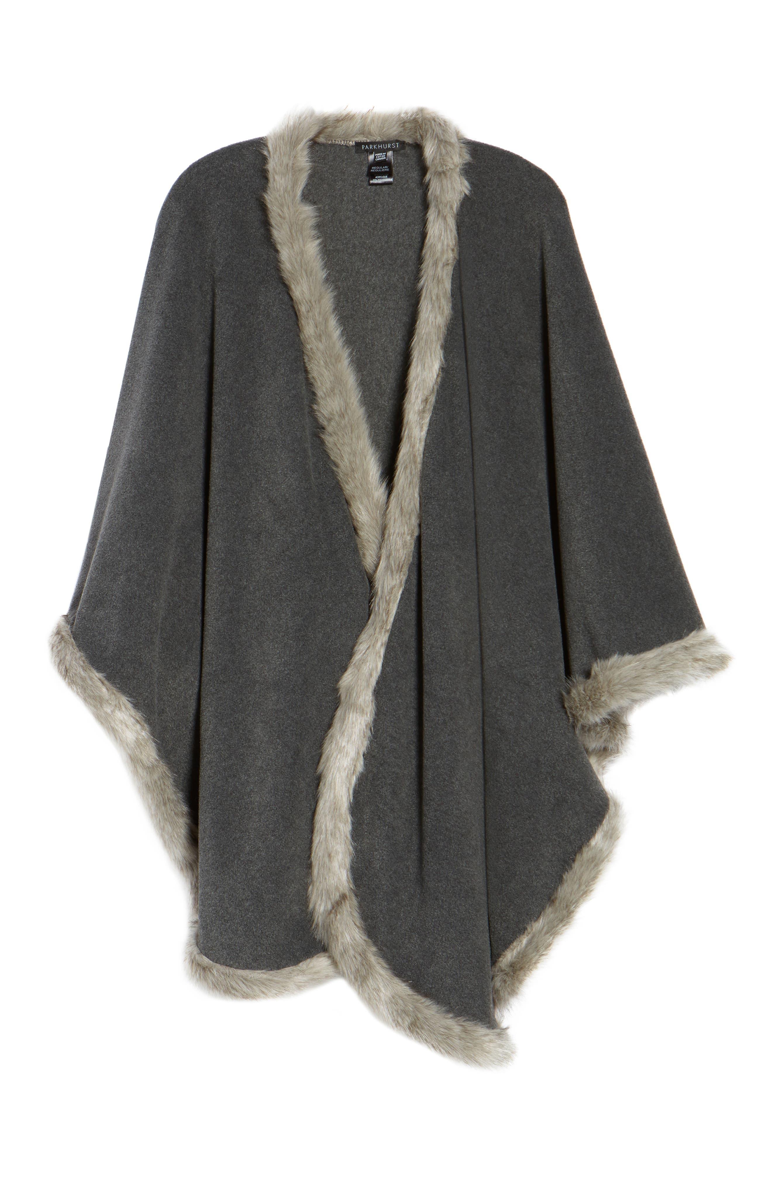 Tara Faux Fur Trim Wrap,                             Alternate thumbnail 6, color,                             Charcoal/ Granite Fox