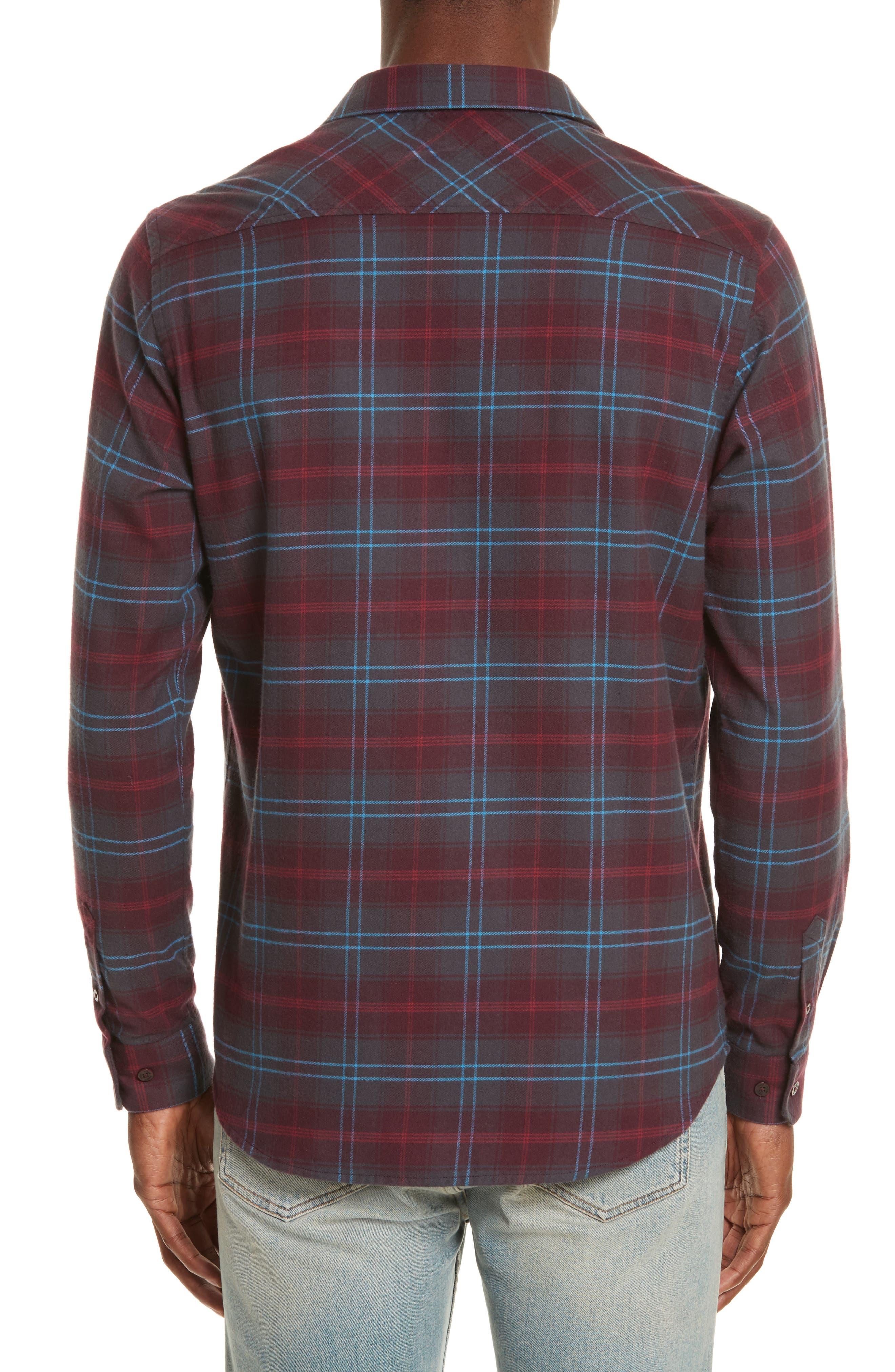 Hans Brushed Check Shirt,                             Alternate thumbnail 2, color,                             Hematite Red