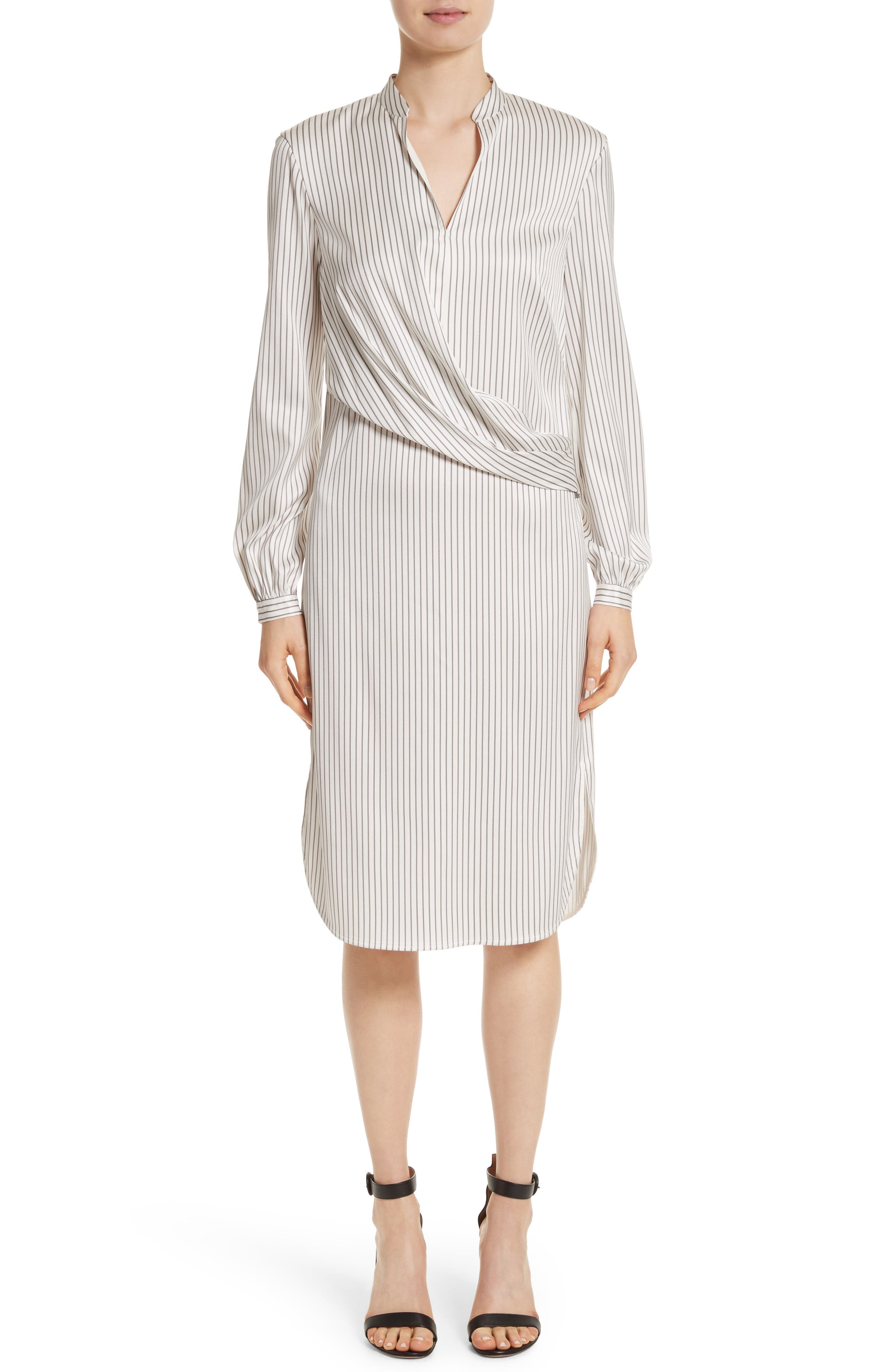 Vertical Stripe Stretch Silk Dress,                             Main thumbnail 1, color,                             Light Stone/Travertine