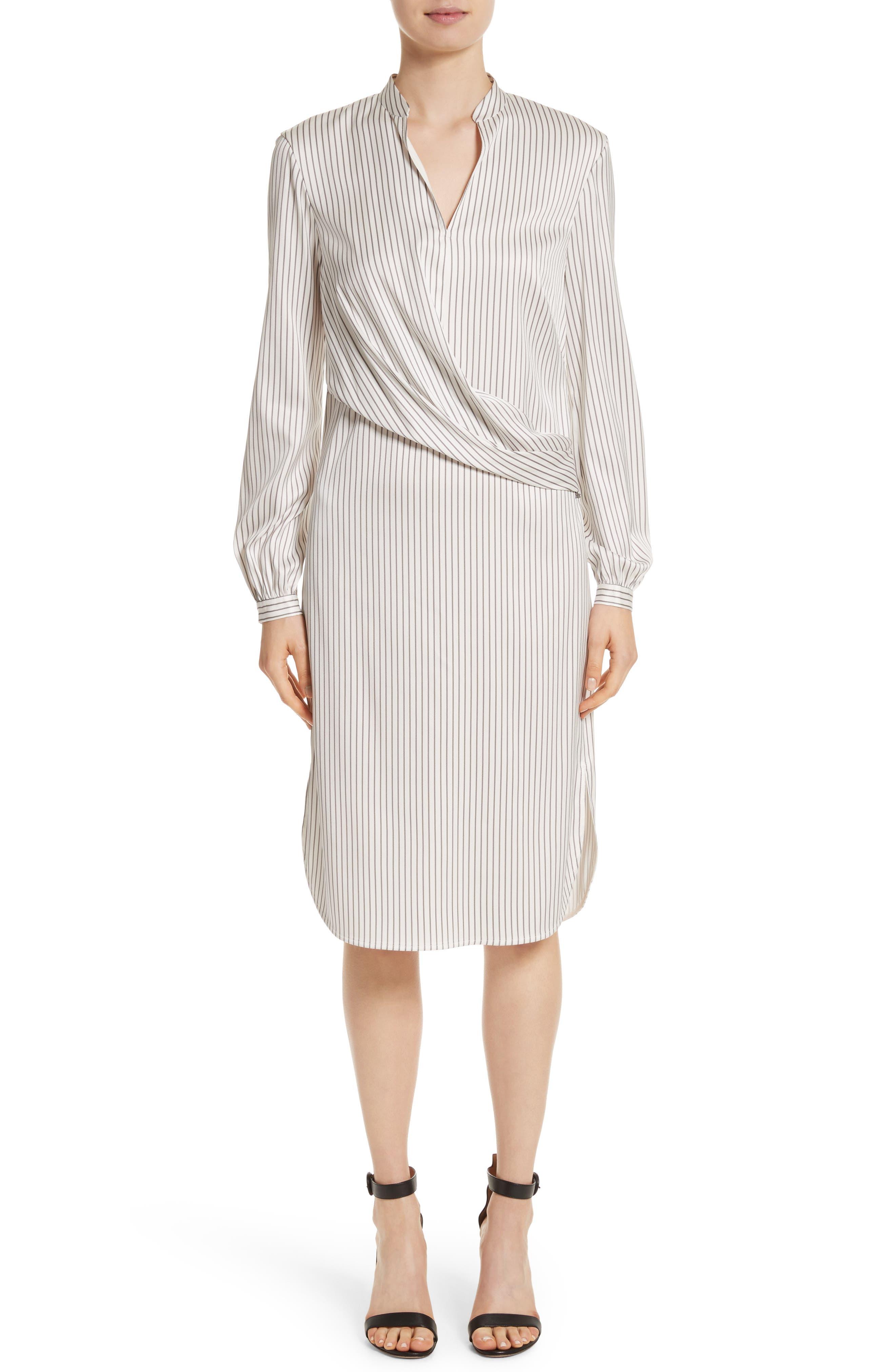 Main Image - St. John Collection Vertical Stripe Stretch Silk Dress