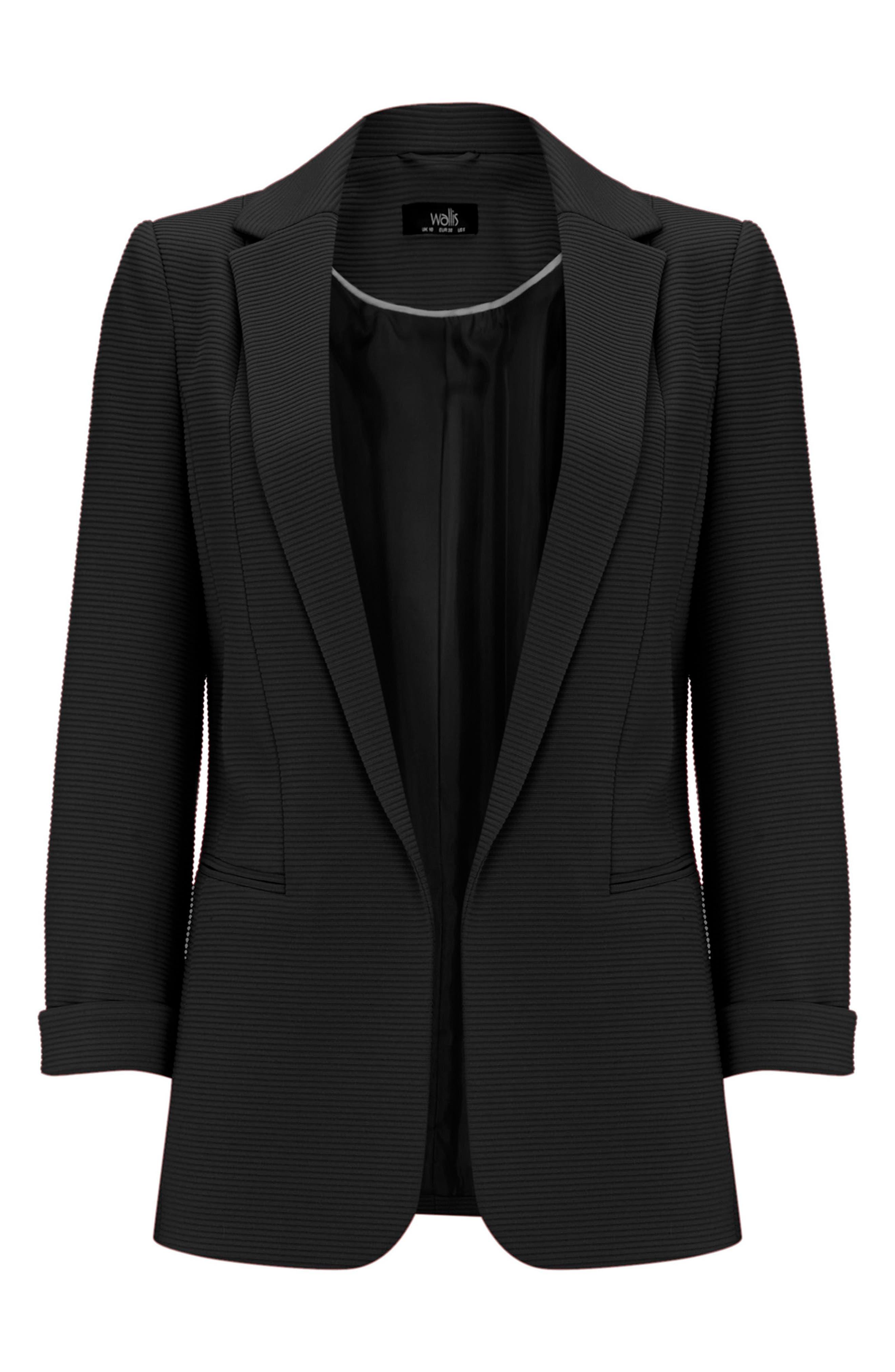 Ribbed Ponte Jacket,                             Alternate thumbnail 5, color,                             Black