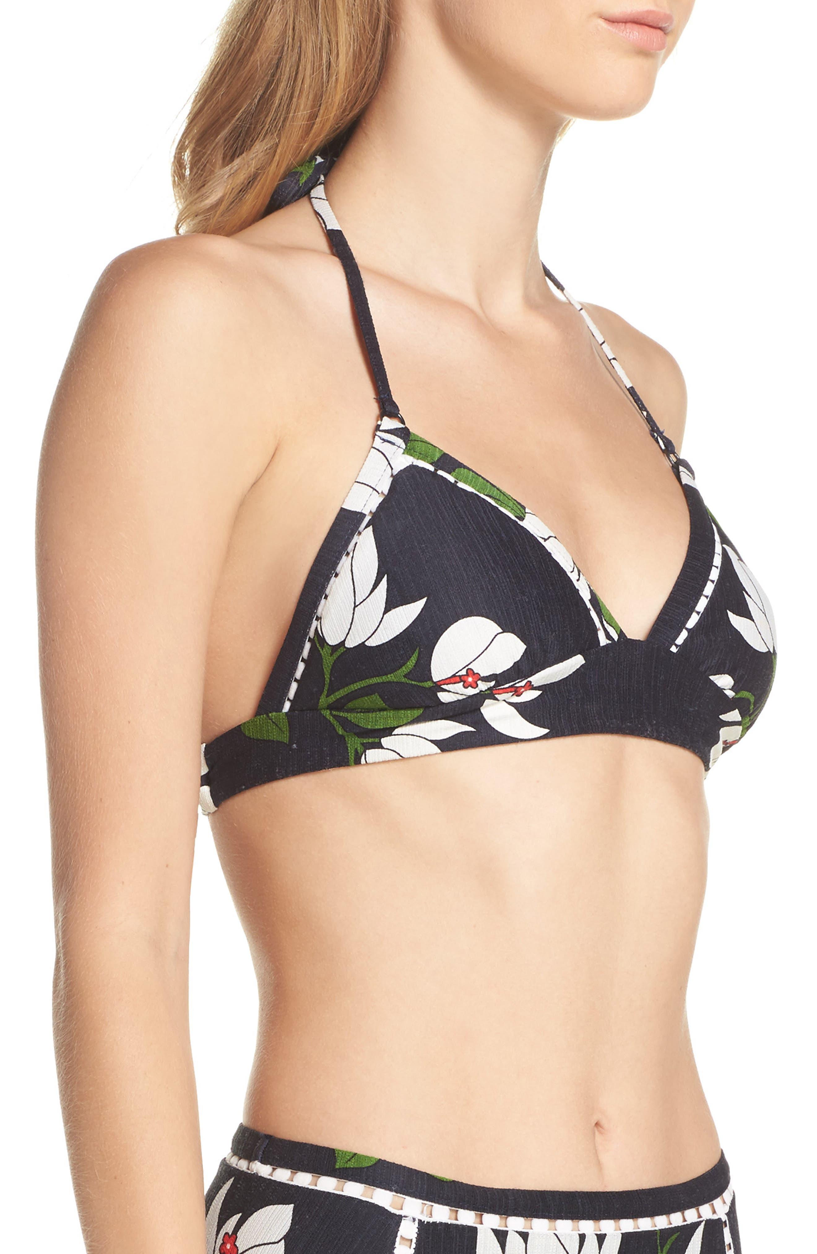 Elisa Halter Bikini Top,                             Alternate thumbnail 3, color,                             Midnight/ Multi