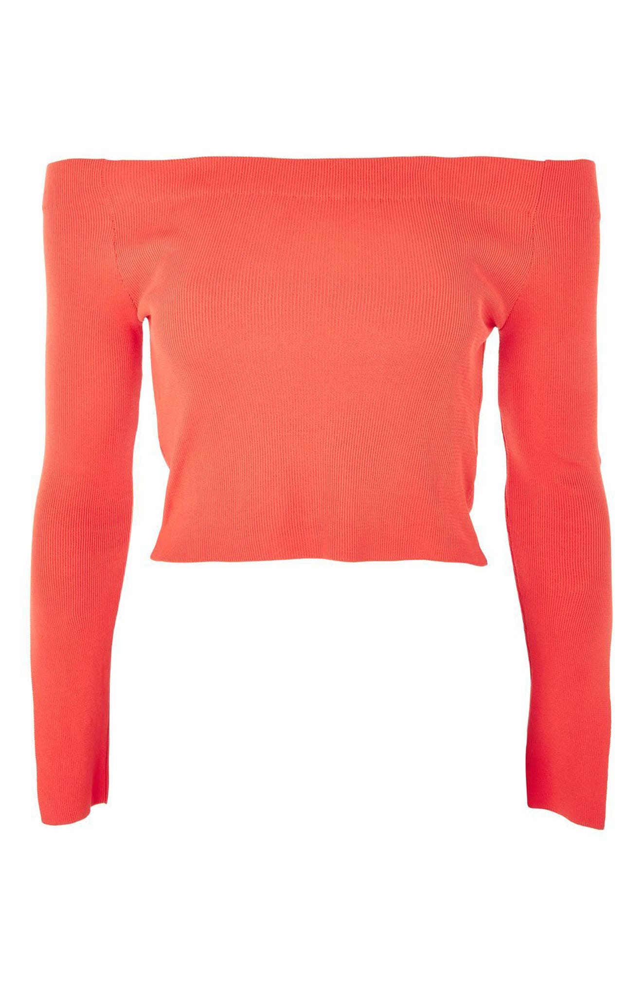 Slit Cuff Off the Shoulder Top,                             Alternate thumbnail 3, color,                             Red